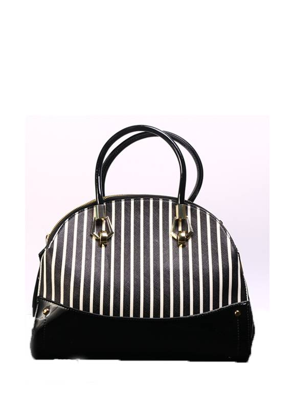 PU Leather Tote  Handbags for Women - Black with Black Stripes , Zip closure
