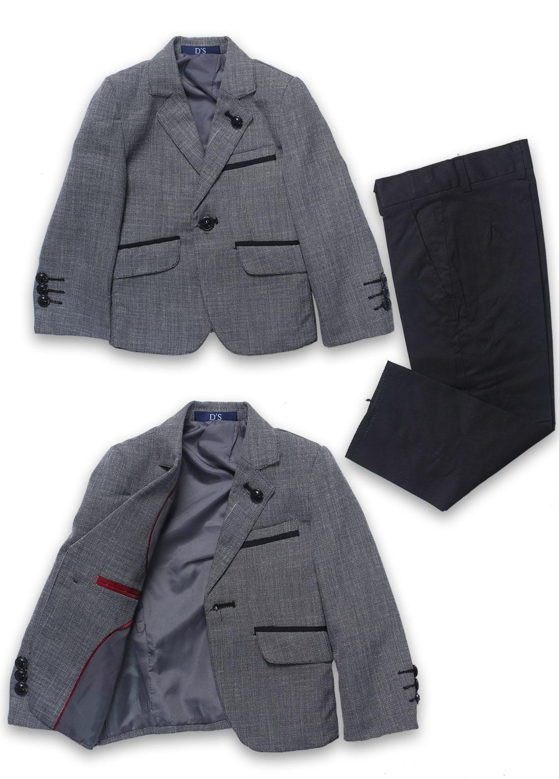 Sanaulla Exclusive Range Cotton Formal Coat Suit for Boys -  1001 Grey