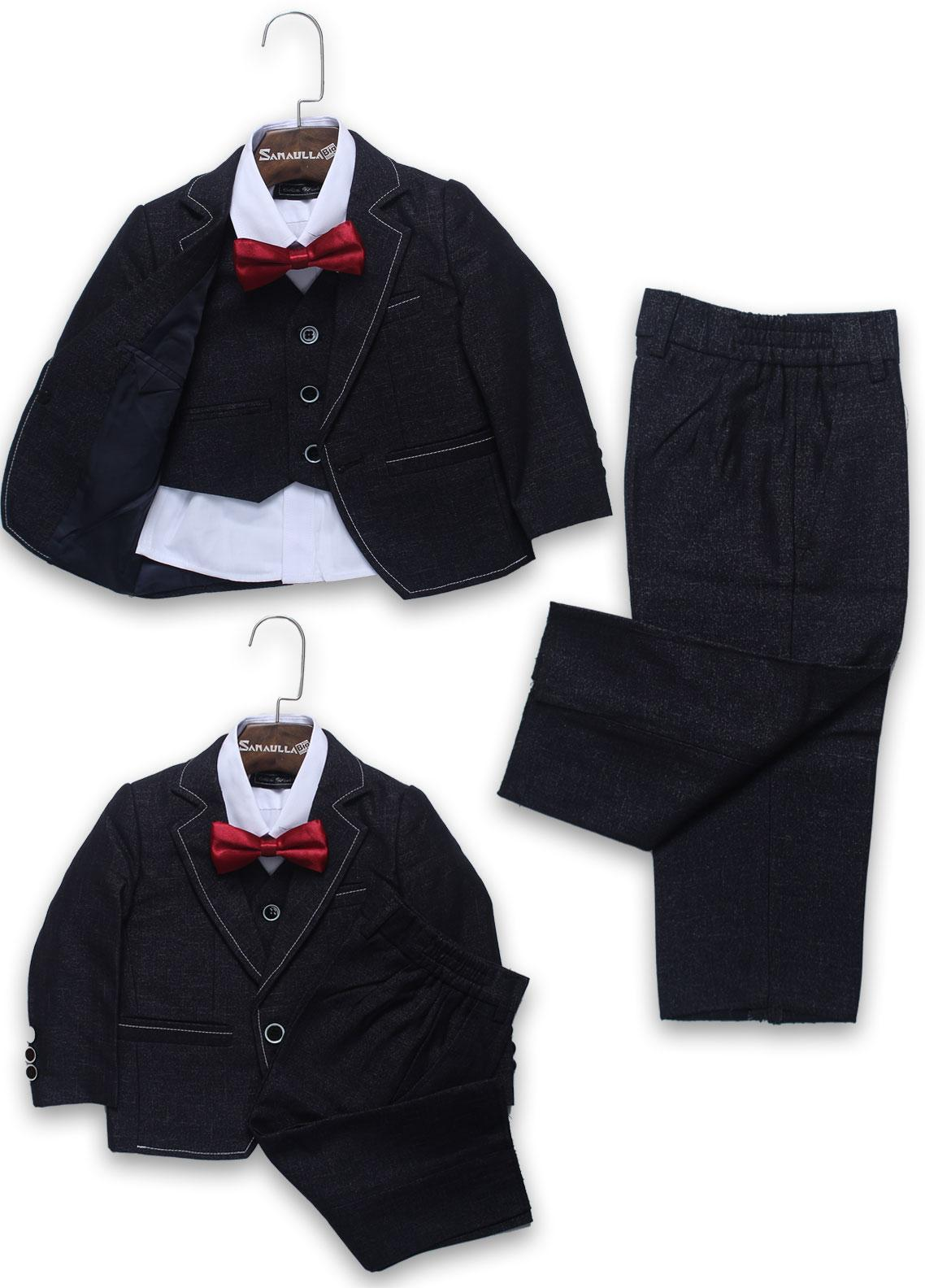 Sanaulla Exclusive Range Cotton Formal Boys Coat Suit -  A 962 Blue