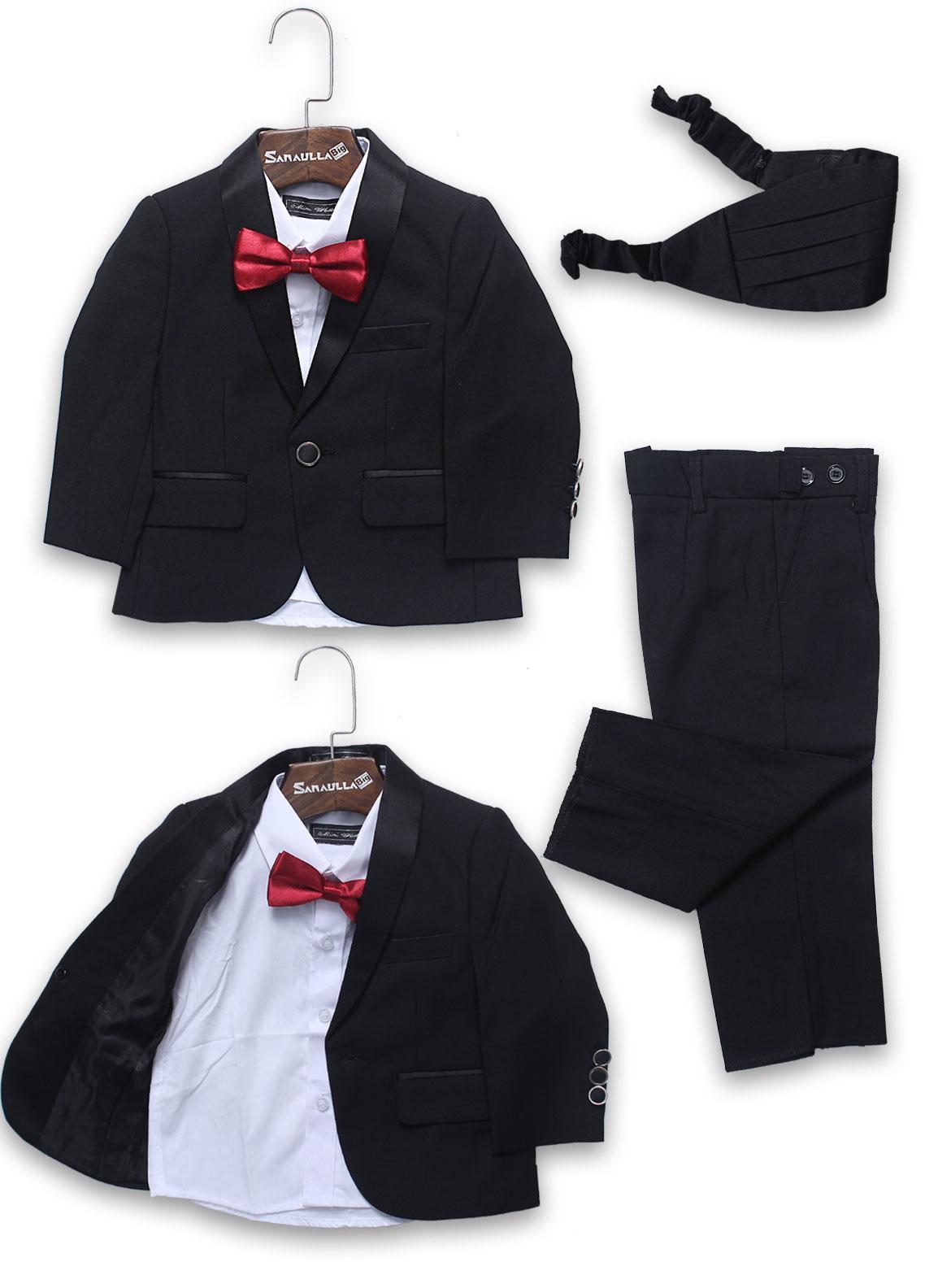 Sanaulla Exclusive Range Cotton Formal Coat Suit for Boys -  A1125 Black