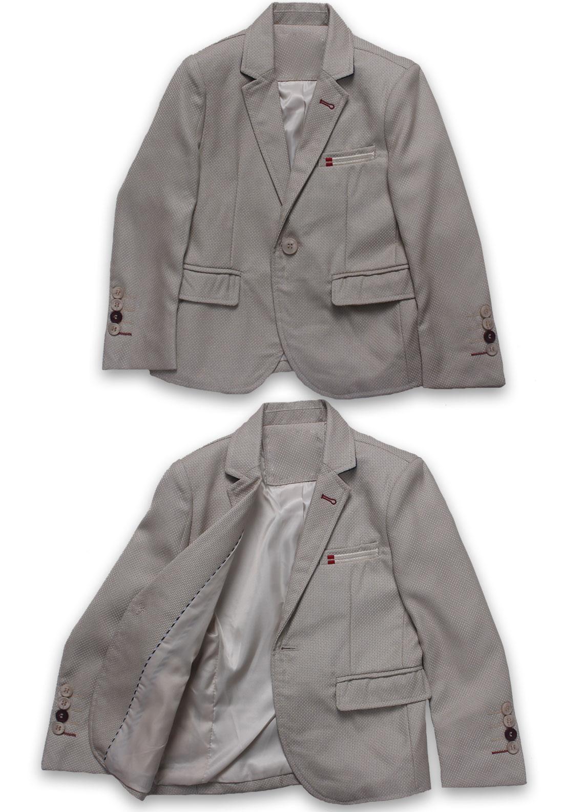Sanaulla Exclusive Range Cotton Formal Boys Coat Suit -  BN03S Fawn