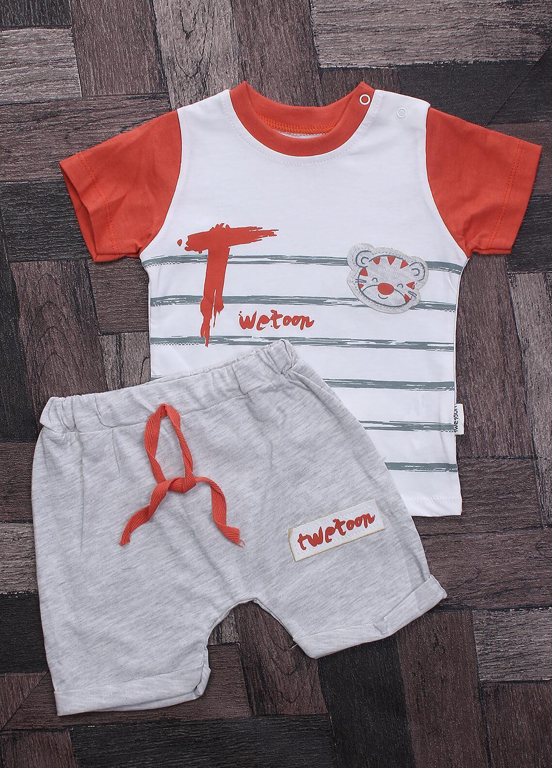 Sanaulla Exclusive Range Cotton Casual Suits for Boys -  116143 Orange