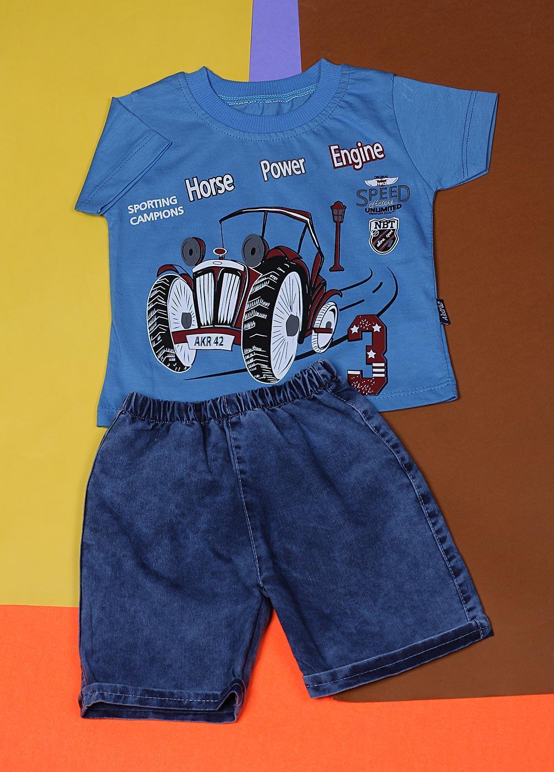 Sanaulla Exclusive Range Cotton Fancy Suits for Boys -  22342-2 Sky Blue