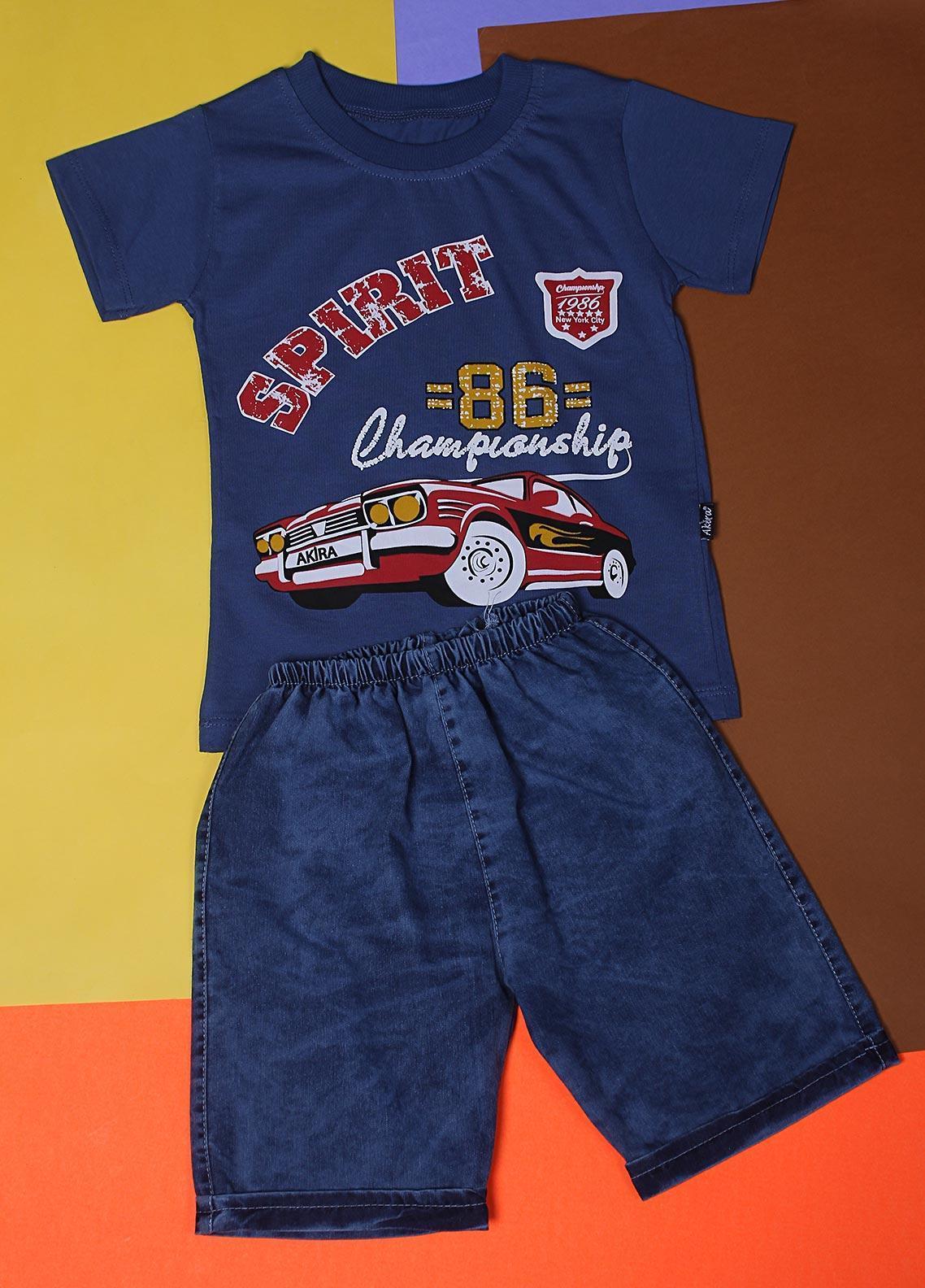 Sanaulla Exclusive Range Cotton Fancy Suits for Boys -  22344-5 Blue