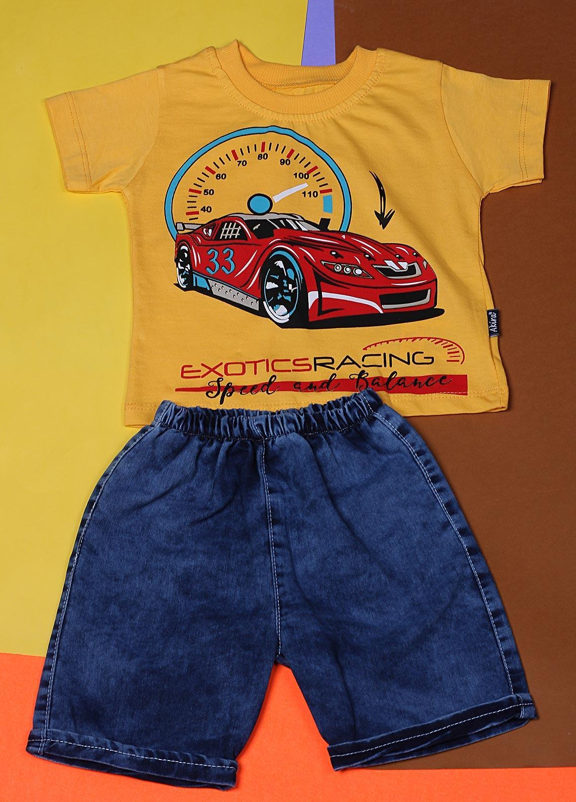 Sanaulla Exclusive Range Cotton Fancy Suits for Boys -  22347-3 Yellow