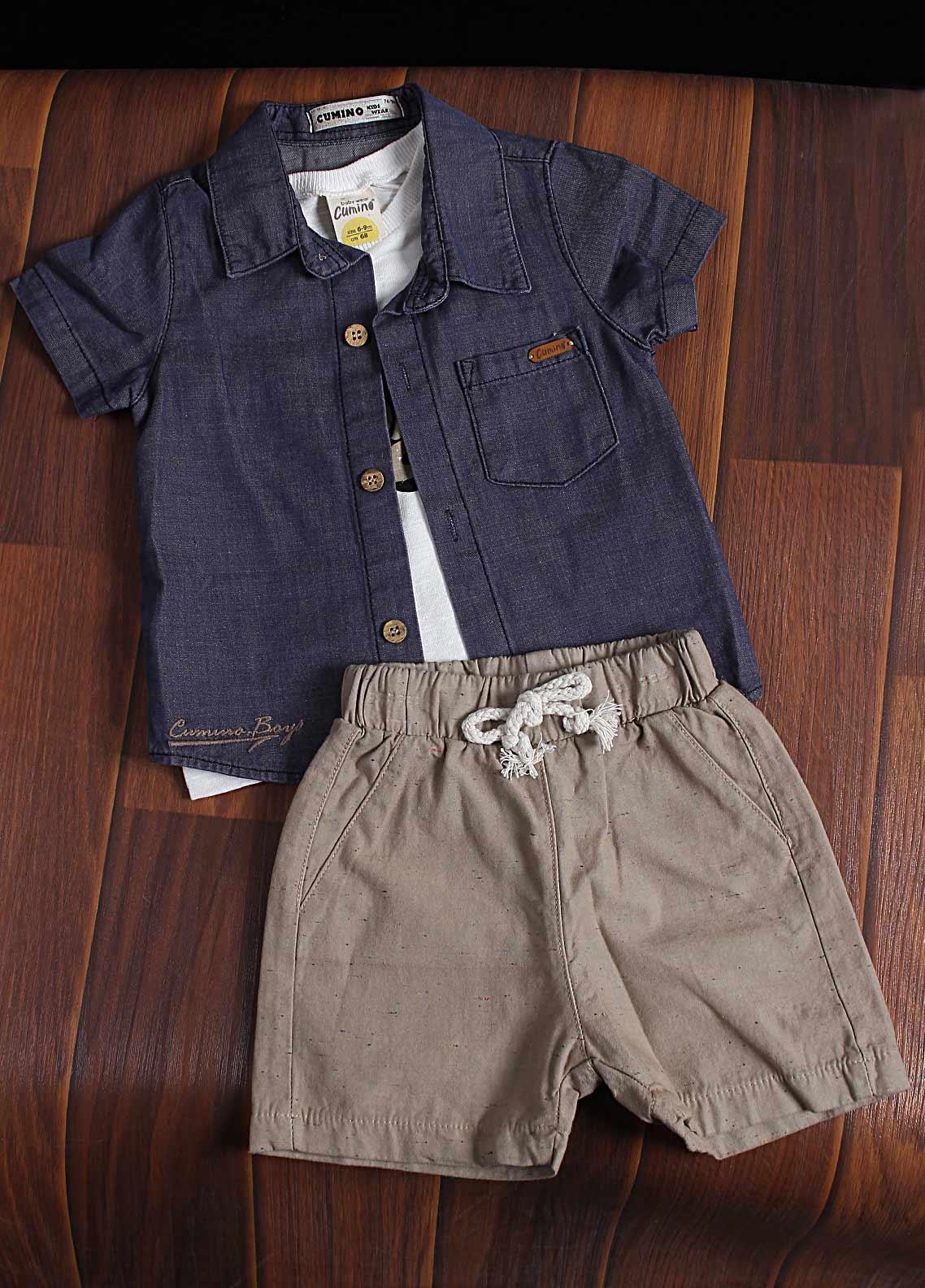 Sanaulla Exclusive Range Cotton Fancy Suit for Boys -  2074 Grey