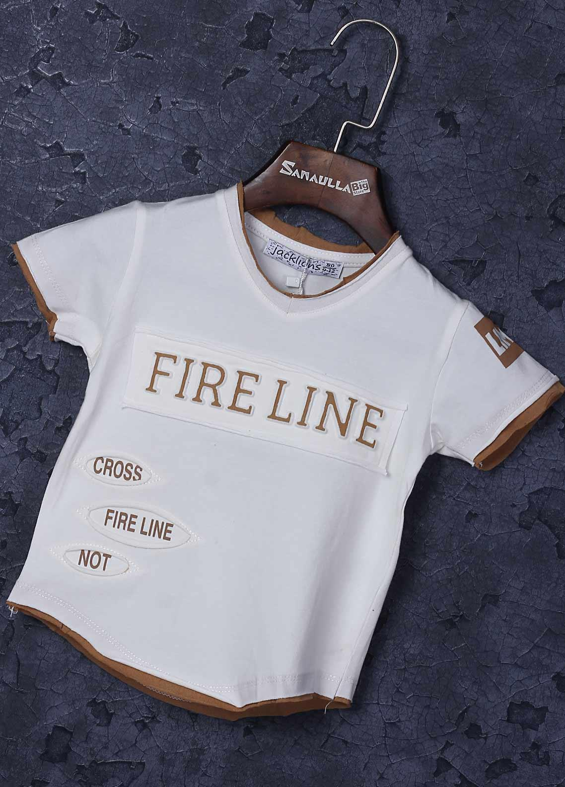 Sanaulla Exclusive Range Cotton Fancy T-Shirts for Boys -  1309-1 Off White