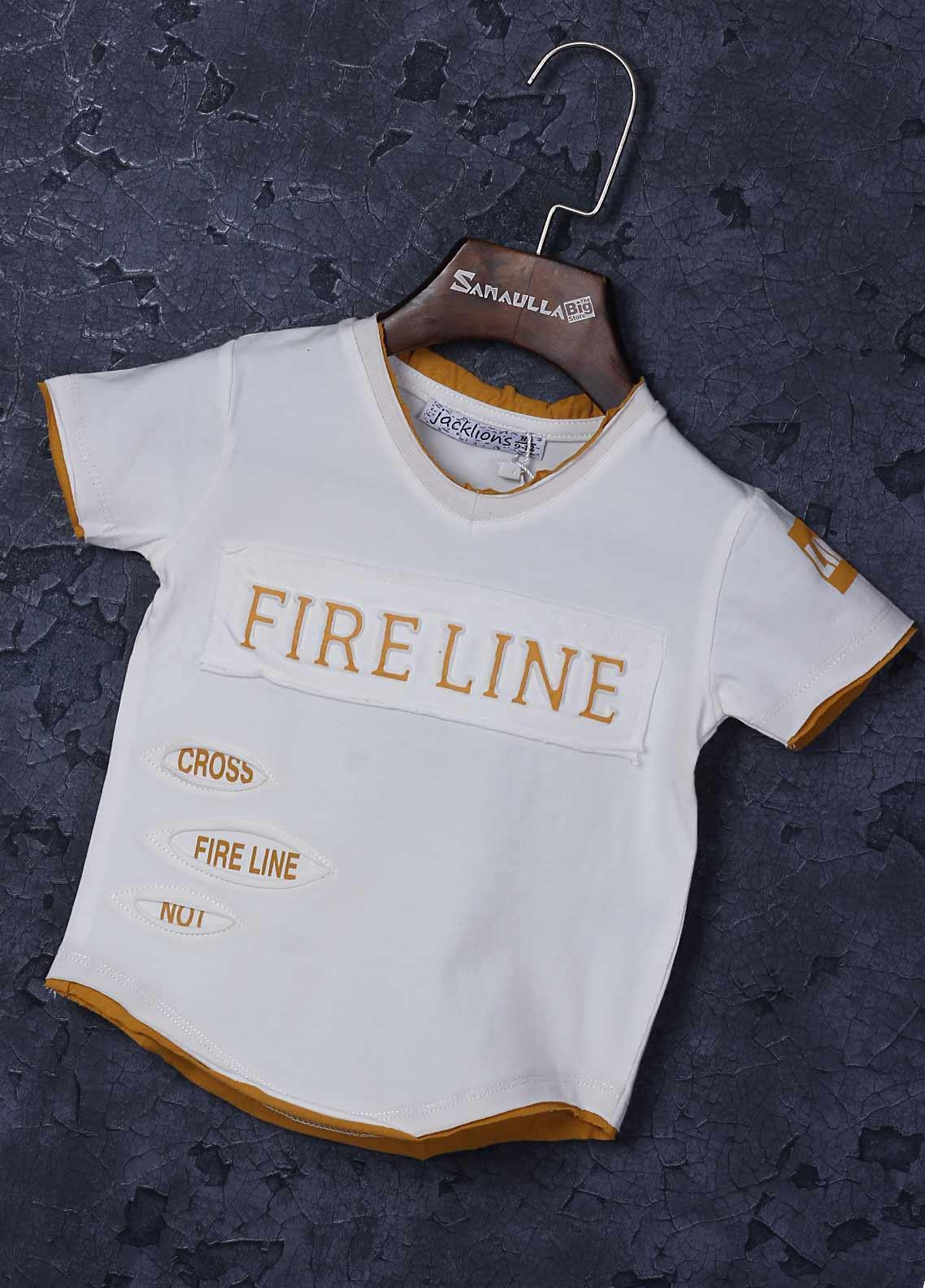 Sanaulla Exclusive Range Cotton Fancy Boys T-Shirts -  1309-2 Off White