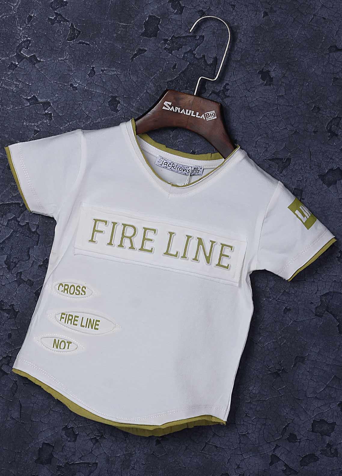Sanaulla Exclusive Range Cotton Fancy T-Shirts for Boys -  1309-3 Off White