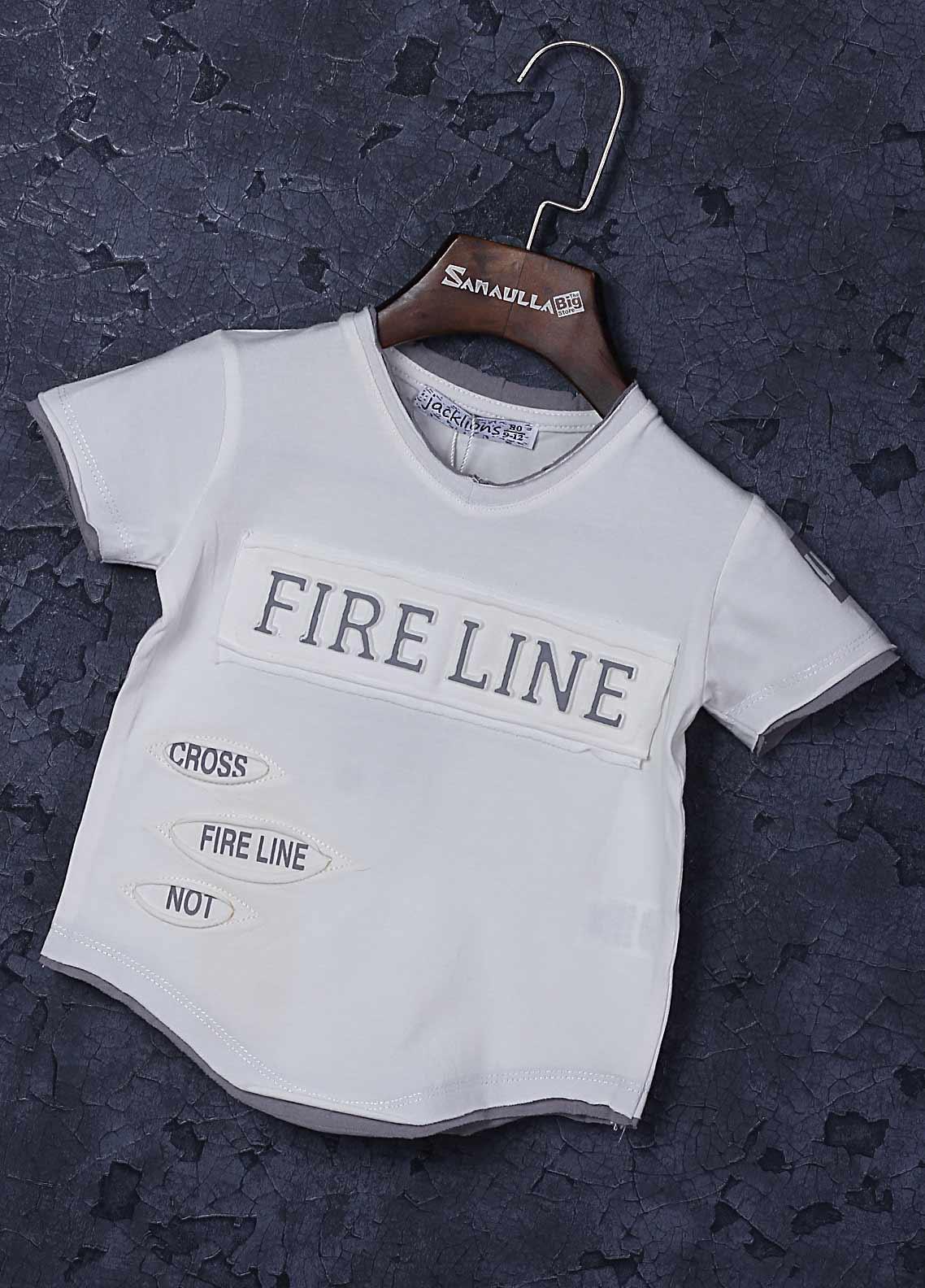 Sanaulla Exclusive Range Cotton Fancy Boys T-Shirts -  1309-5 Off White