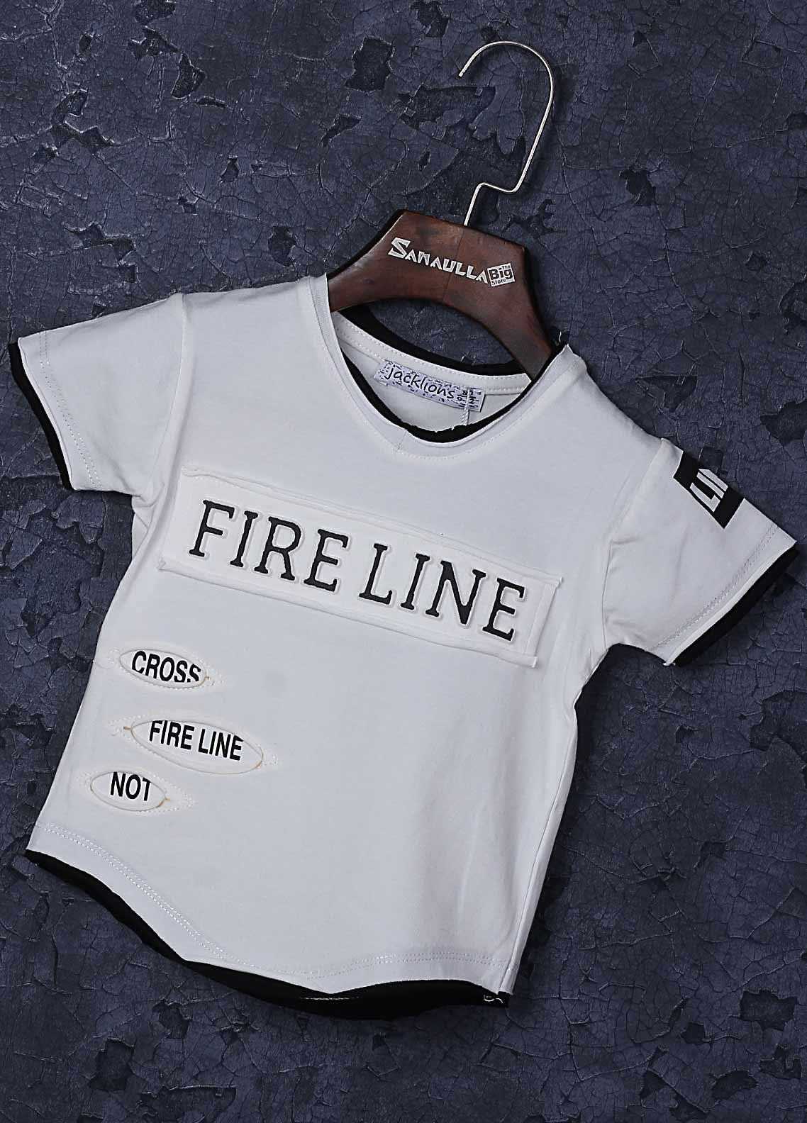 Sanaulla Exclusive Range Cotton Fancy T-Shirts for Boys -  1309-6 Off White