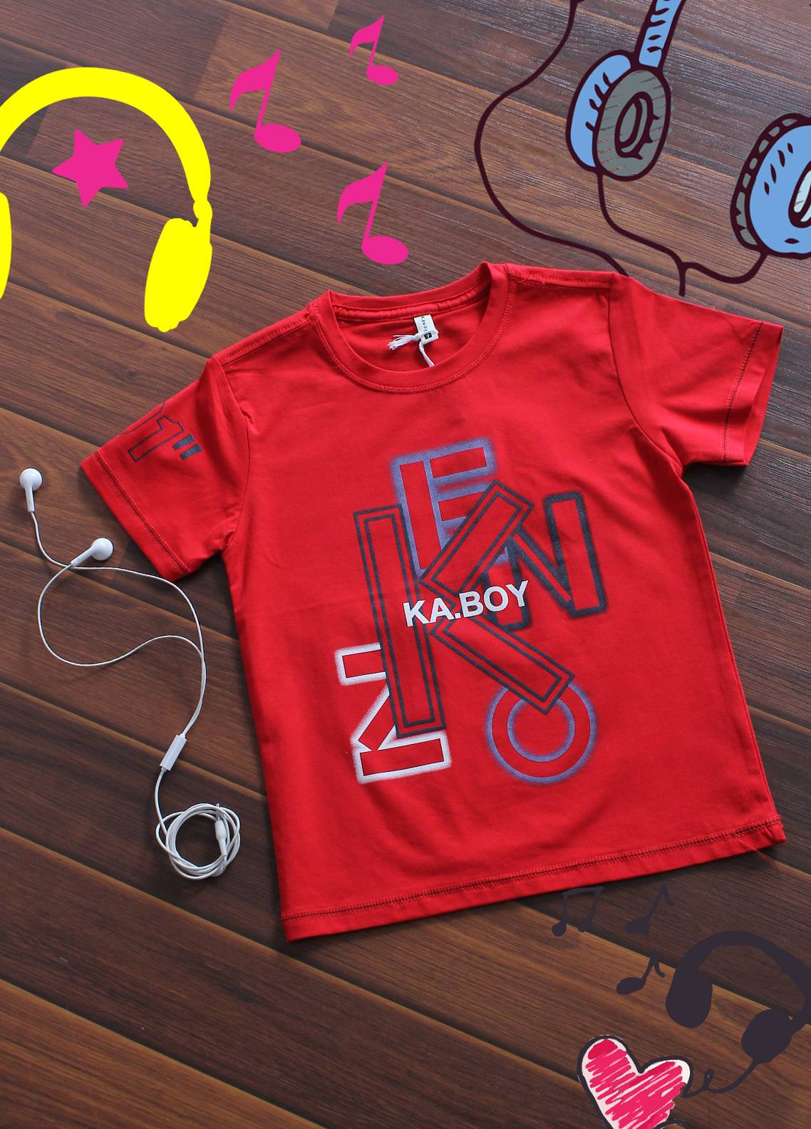 Sanaulla Exclusive Range Cotton Printed Boys T-Shirts -  19076 Red