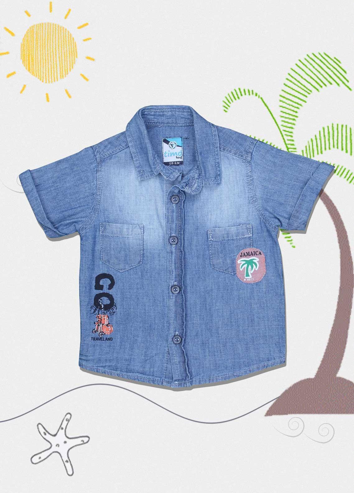 Sanaulla Exclusive Range Cotton Fancy Shirts for Boys -  0051 Blue