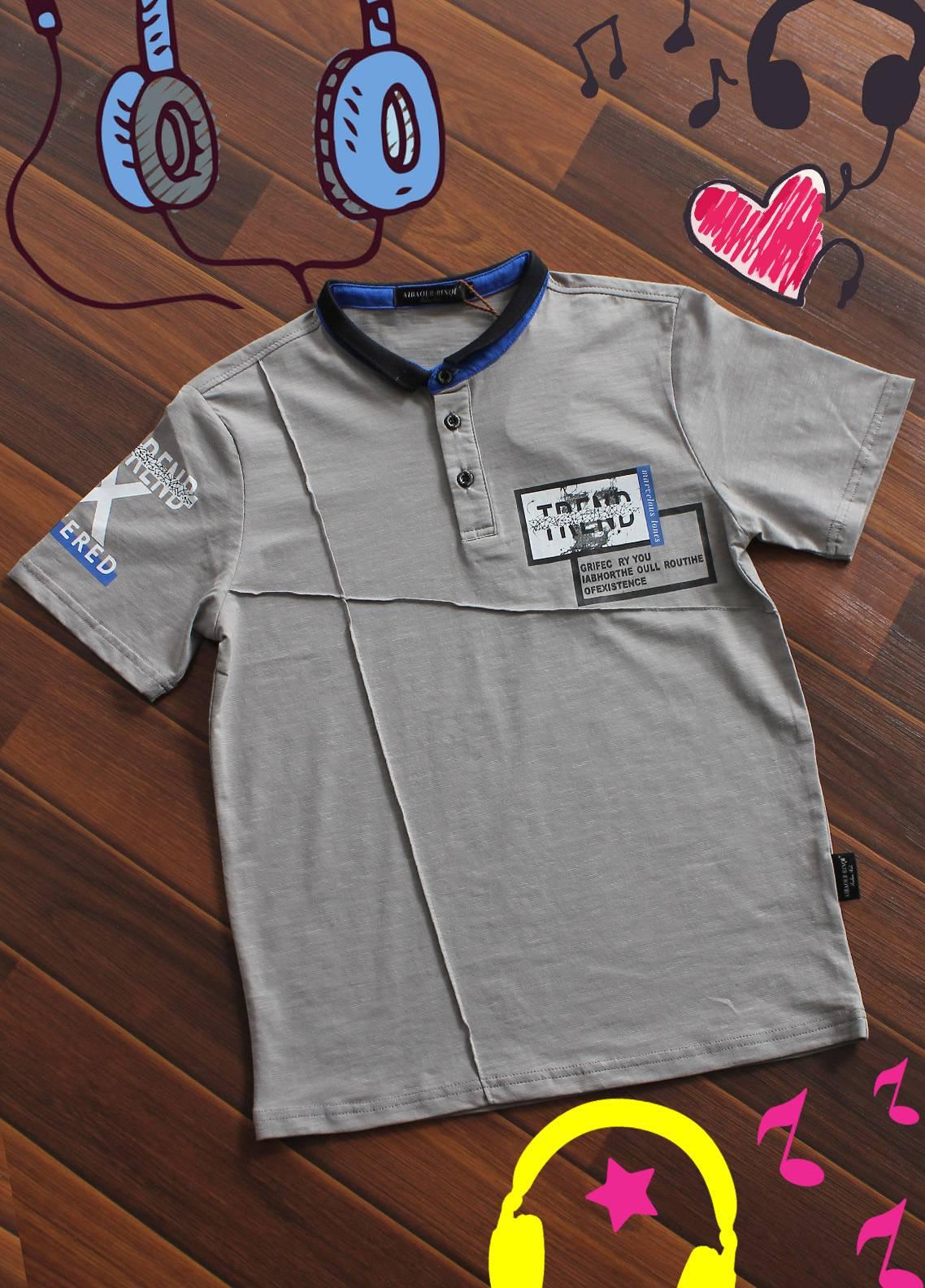 Sanaulla Exclusive Range Cotton Printed T-Shirts for Boys -  20375 Grey