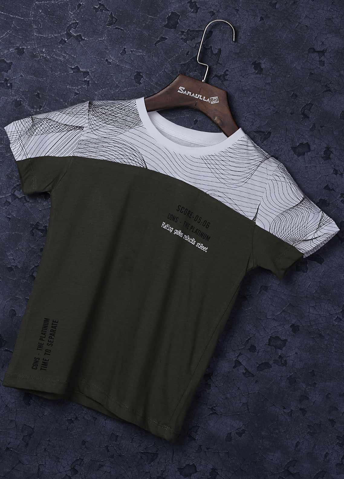 Sanaulla Exclusive Range Cotton Fancy Boys T-Shirts -  3655 Green