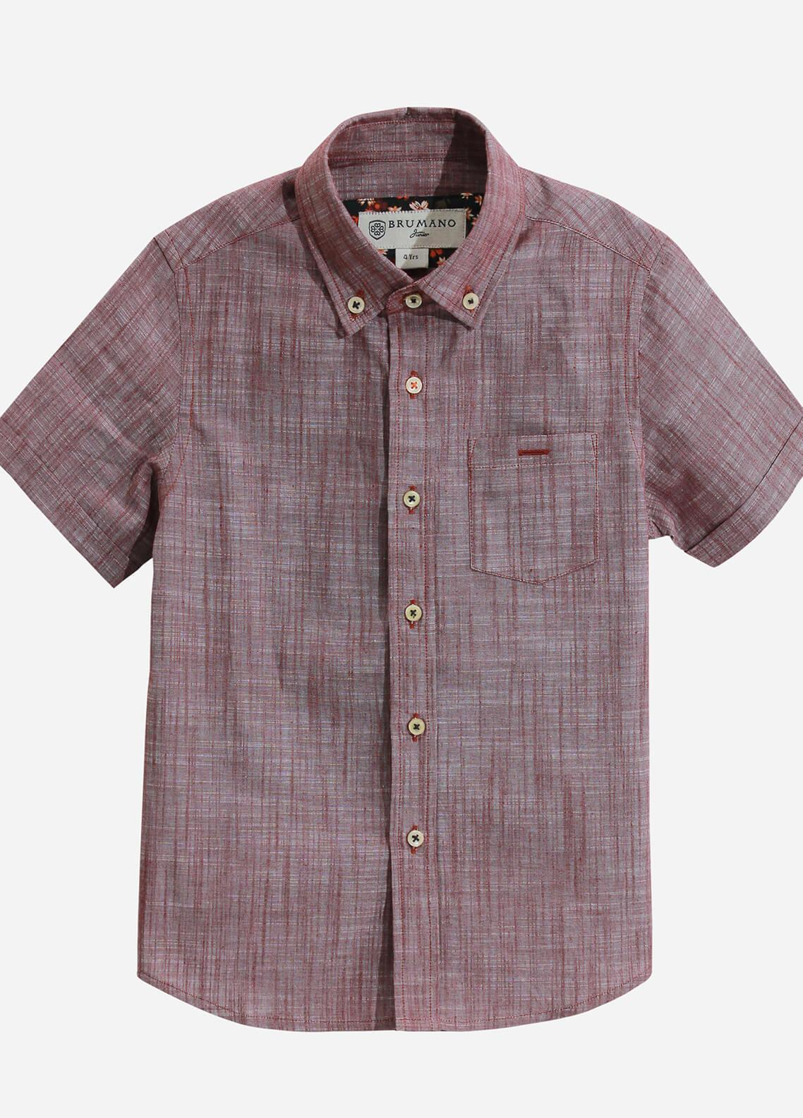 Brumano Cotton Casual Shirts for Boys - Burgundy BRM-664