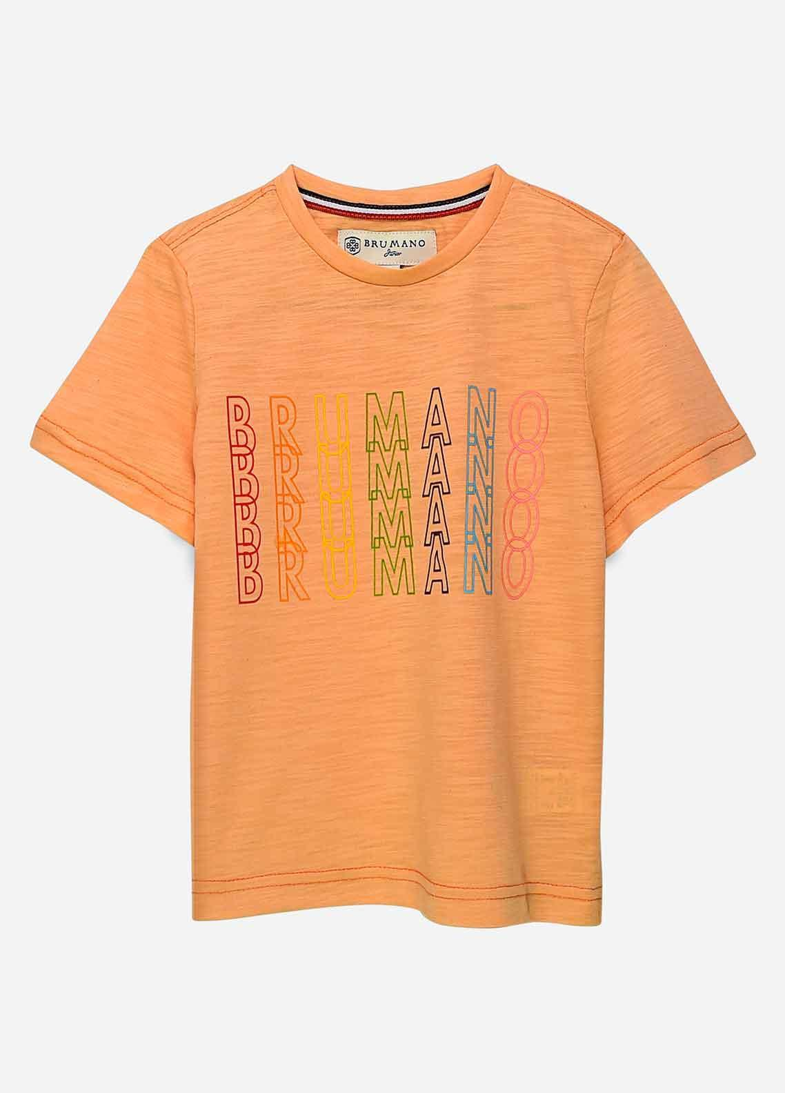 Brumano Cotton Casual T-Shirts for Boys -  BRM21JS Orange Printed