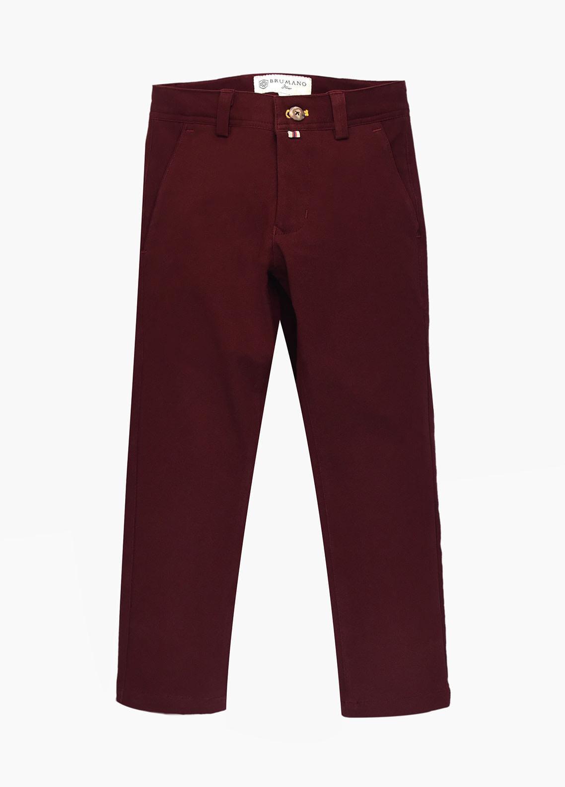 Brumano Cotton Casual Trousers for Boys - Blue BM20JP Burgundy Casual Trouser - Junior