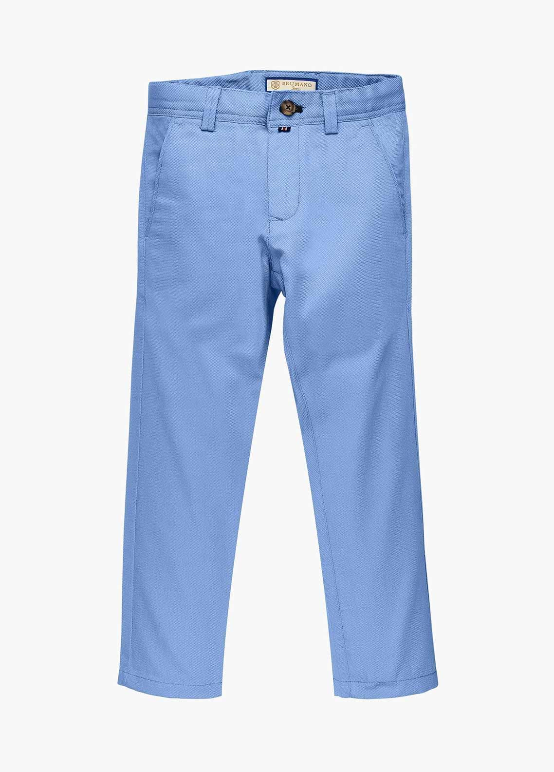 Brumano Cotton Casual Boys Trousers - Blue BM20JP Light Blue Structured Casual Trouser - Junior