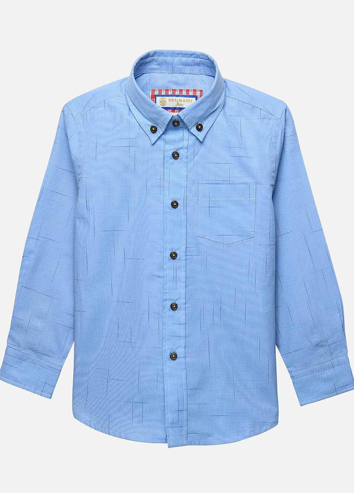 Brumano Cotton Casual Shirts for Boys -  BM20JS Blue Check Slub Patterned Casual Shirt-Junior