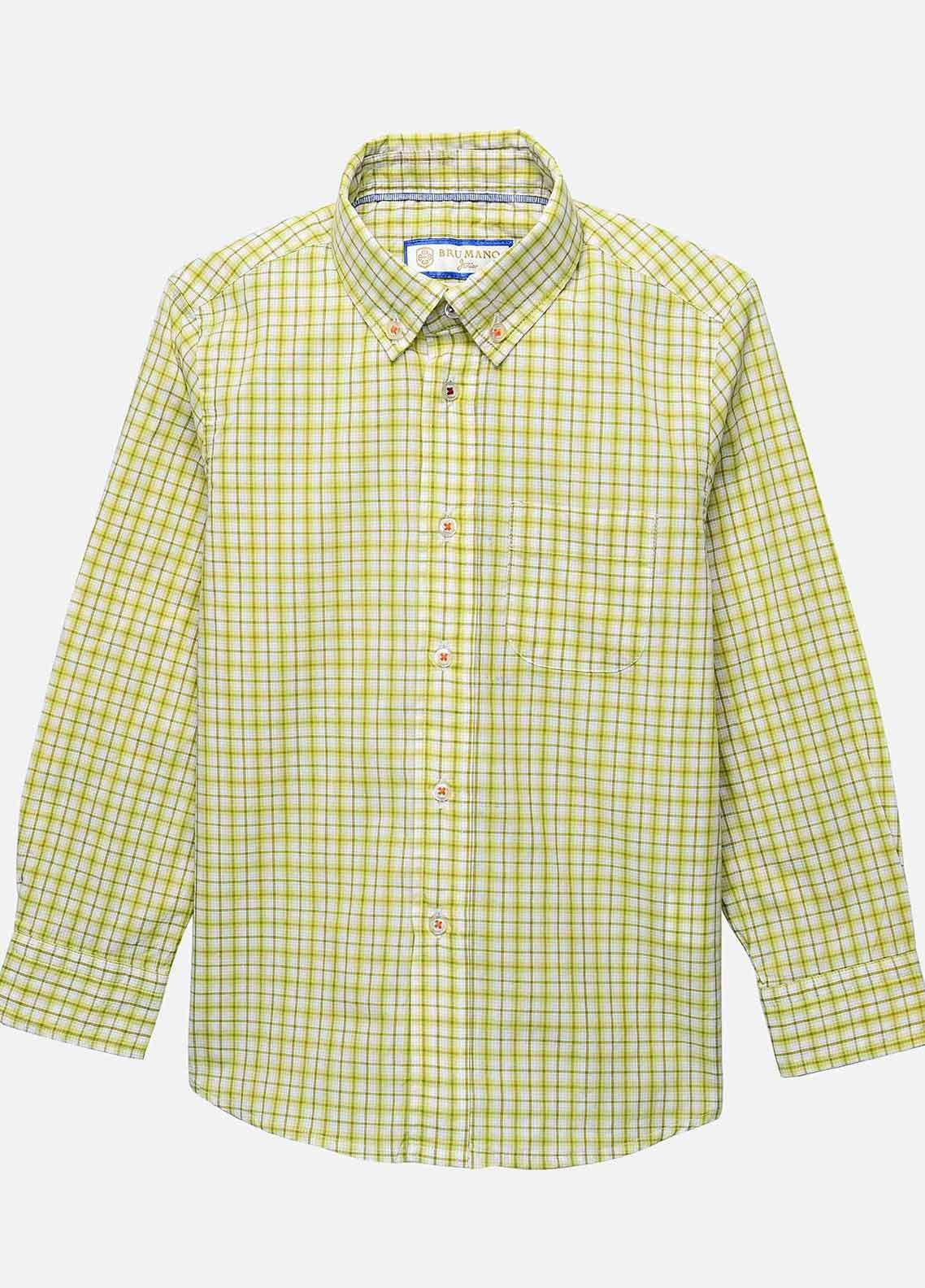 Brumano Cotton Casual Boys Shirts - BM20JS Lime Yellow Checkered Casual Shirt-Junior