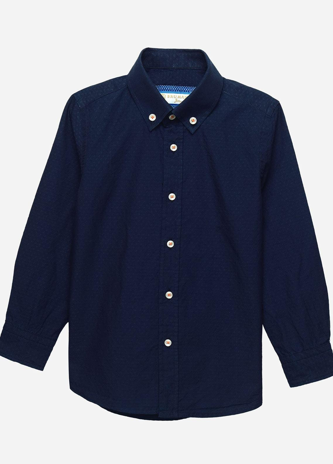 Brumano Cotton Casual Shirts for Boys -  BM20JS Navy Indigo Dyed Structured Casual Shirt-Junior