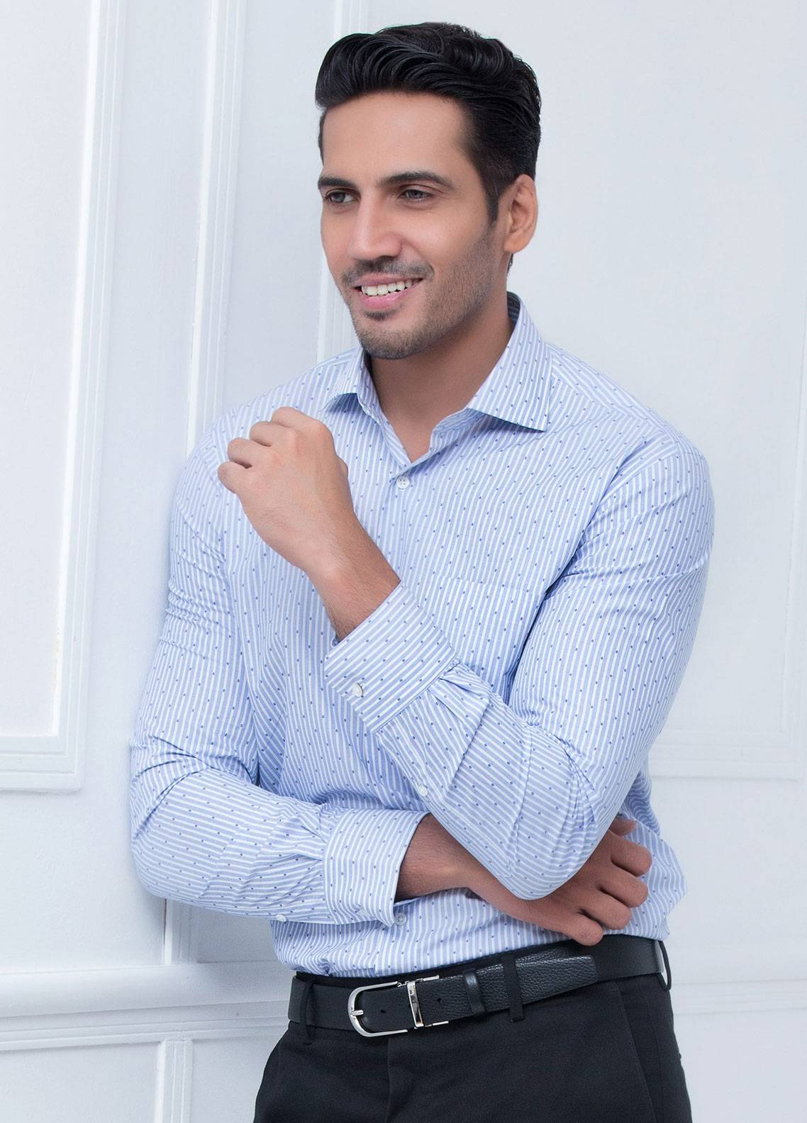 Brumano Cotton Formal Shirts for Men   Blue BRM 177