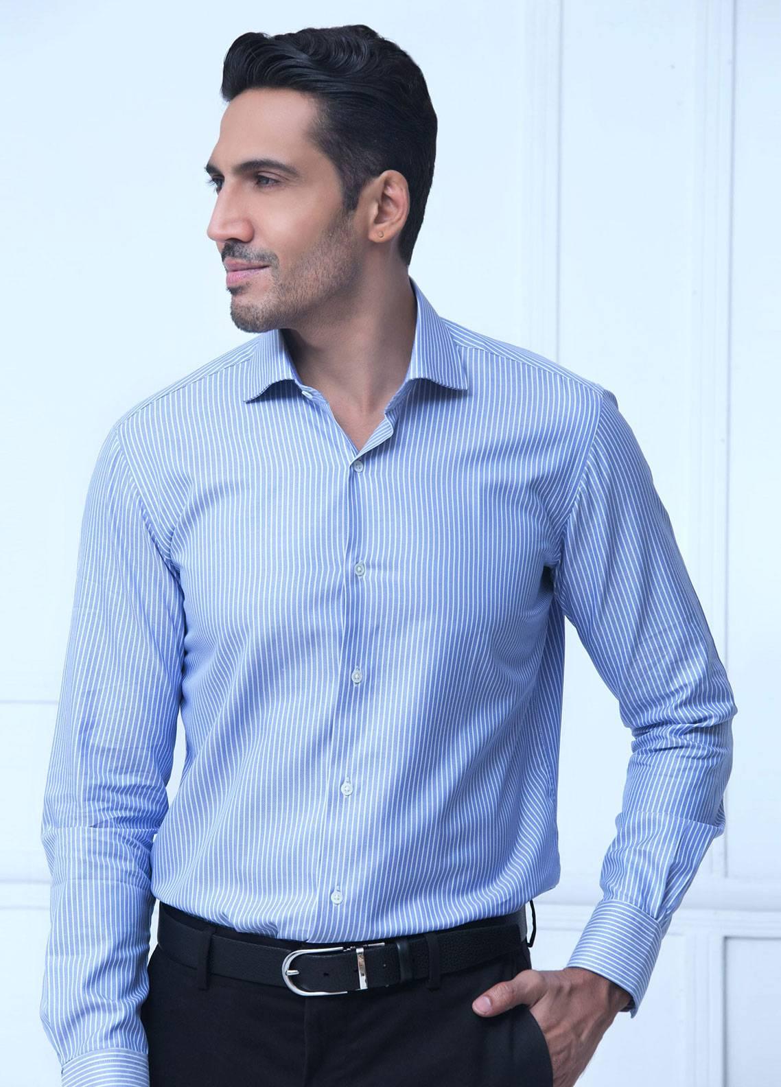 Brumano Cotton Formal Men Shirts   Blue BRM 182