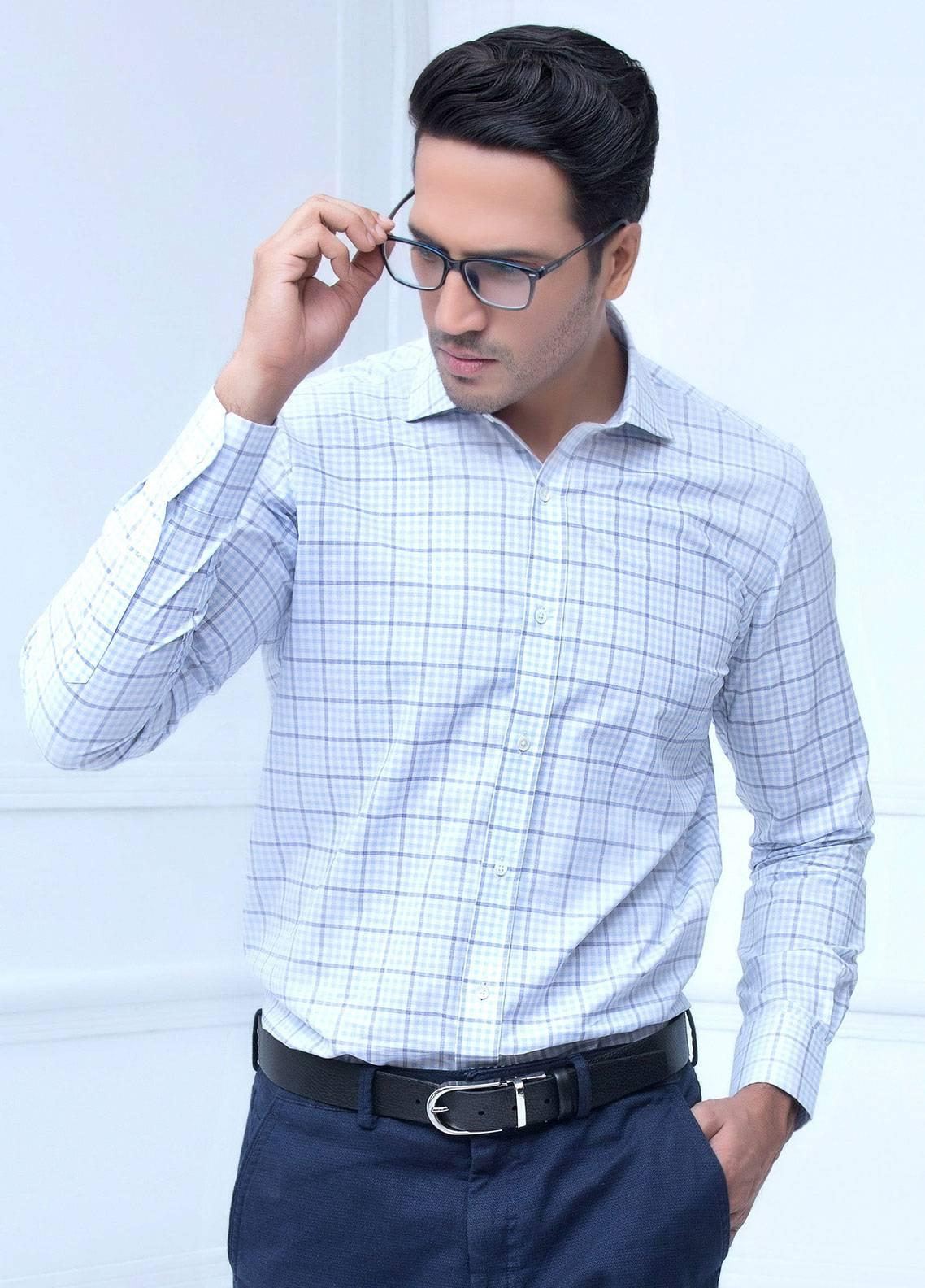 Brumano Cotton Formal Shirts for Men   Blue BRM 187