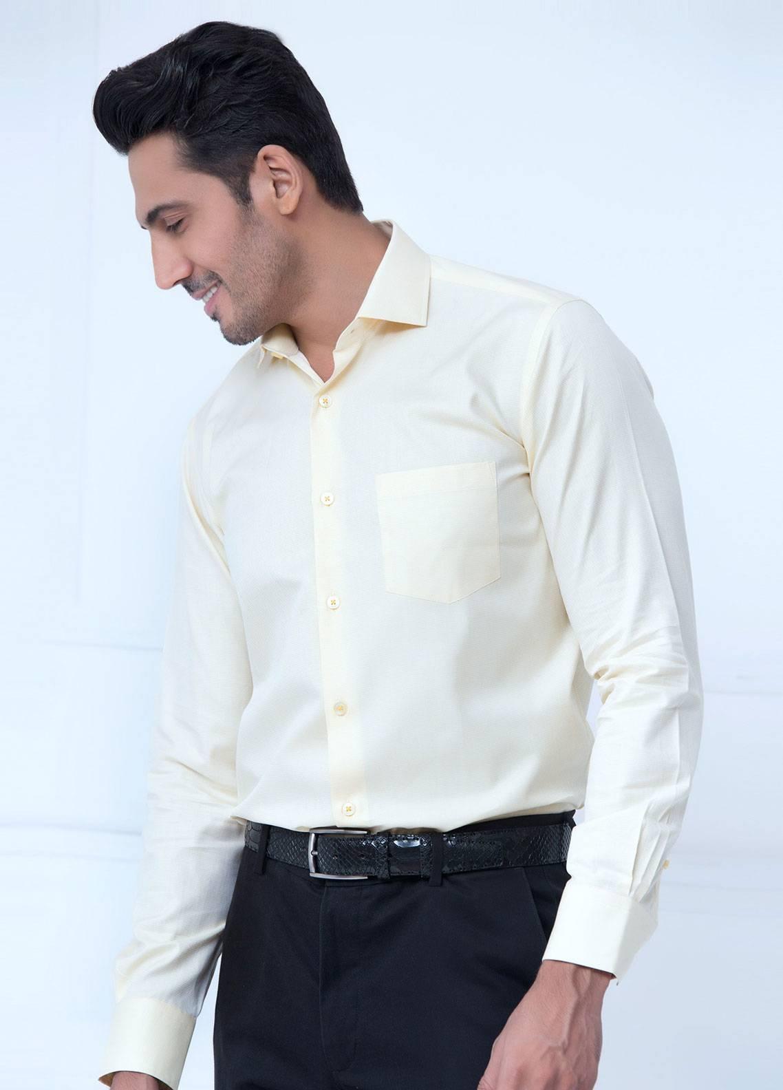 Brumano Cotton Formal Shirts for Men   Yellow BRM 193