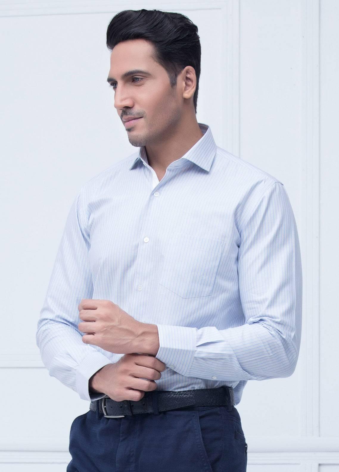 Brumano Cotton Formal Men Shirts   Blue BRM 202