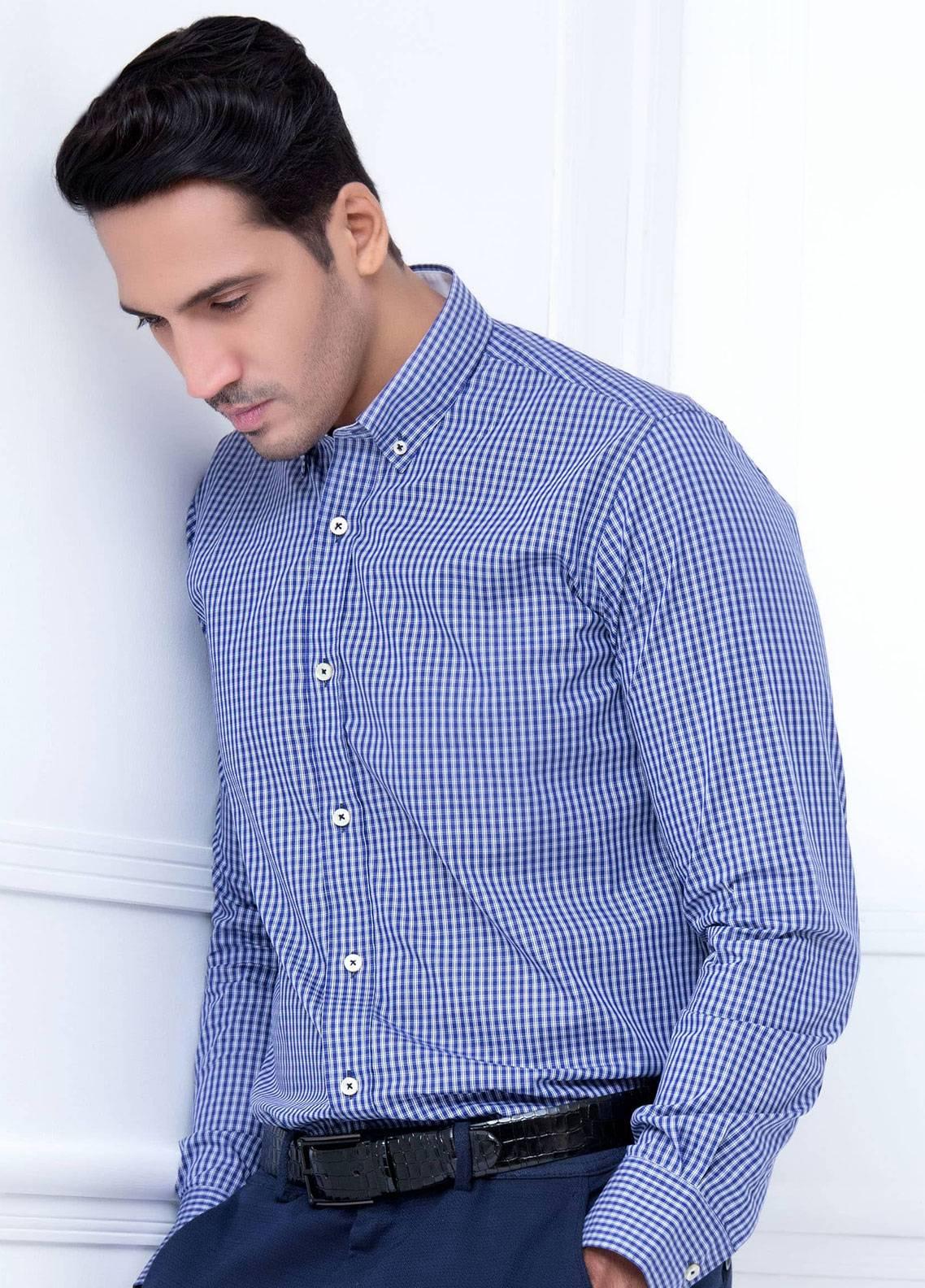 Brumano Cotton Formal Shirts for Men   Blue BRM 218