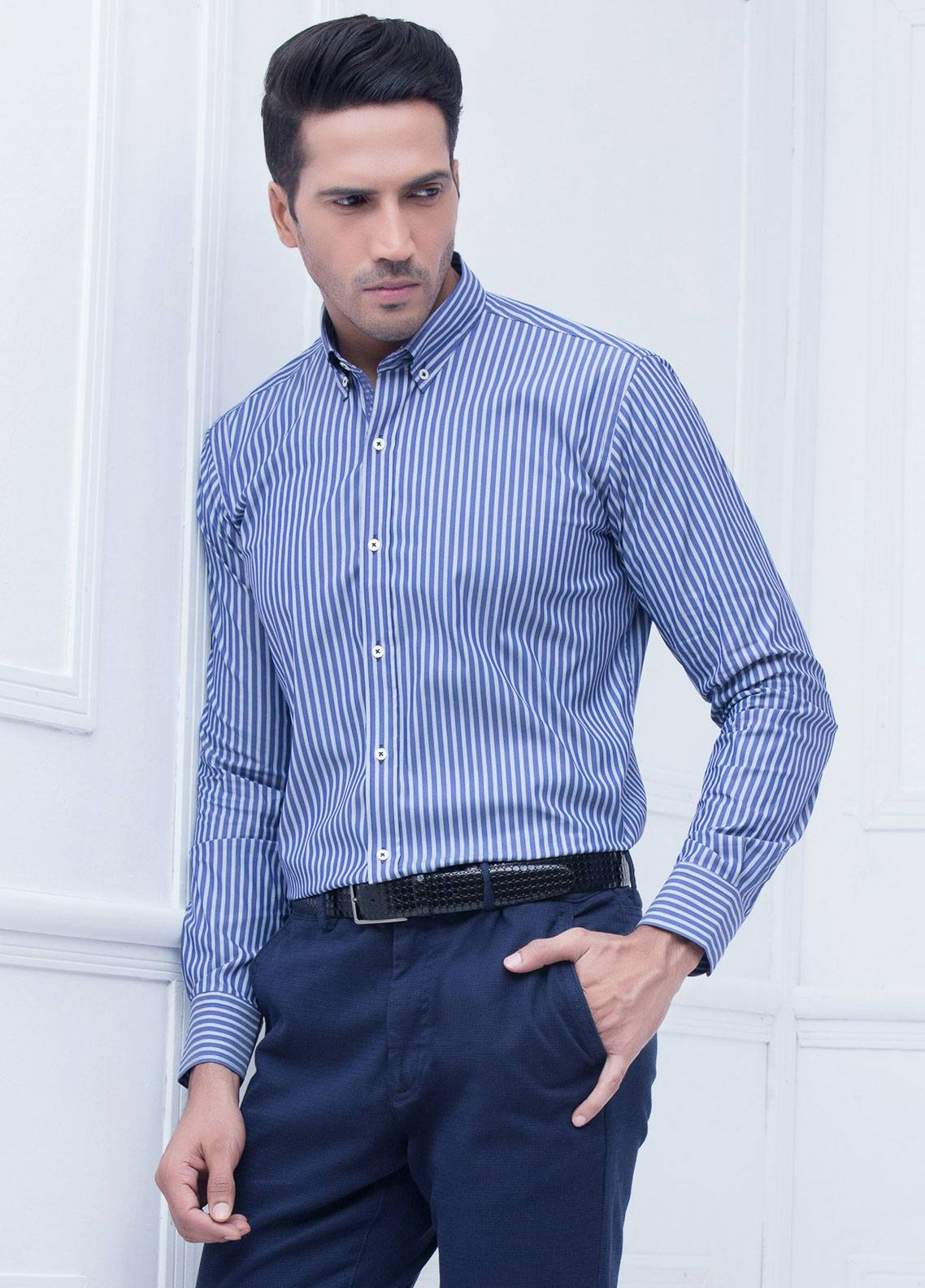 Brumano Cotton Formal Men Shirts   Blue BRM 219