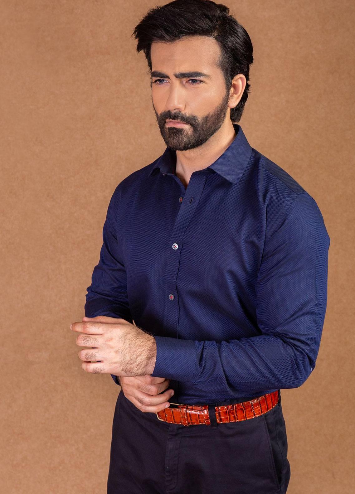 Brumano Cotton Formal Men Shirts - Navy Blue BRM-562
