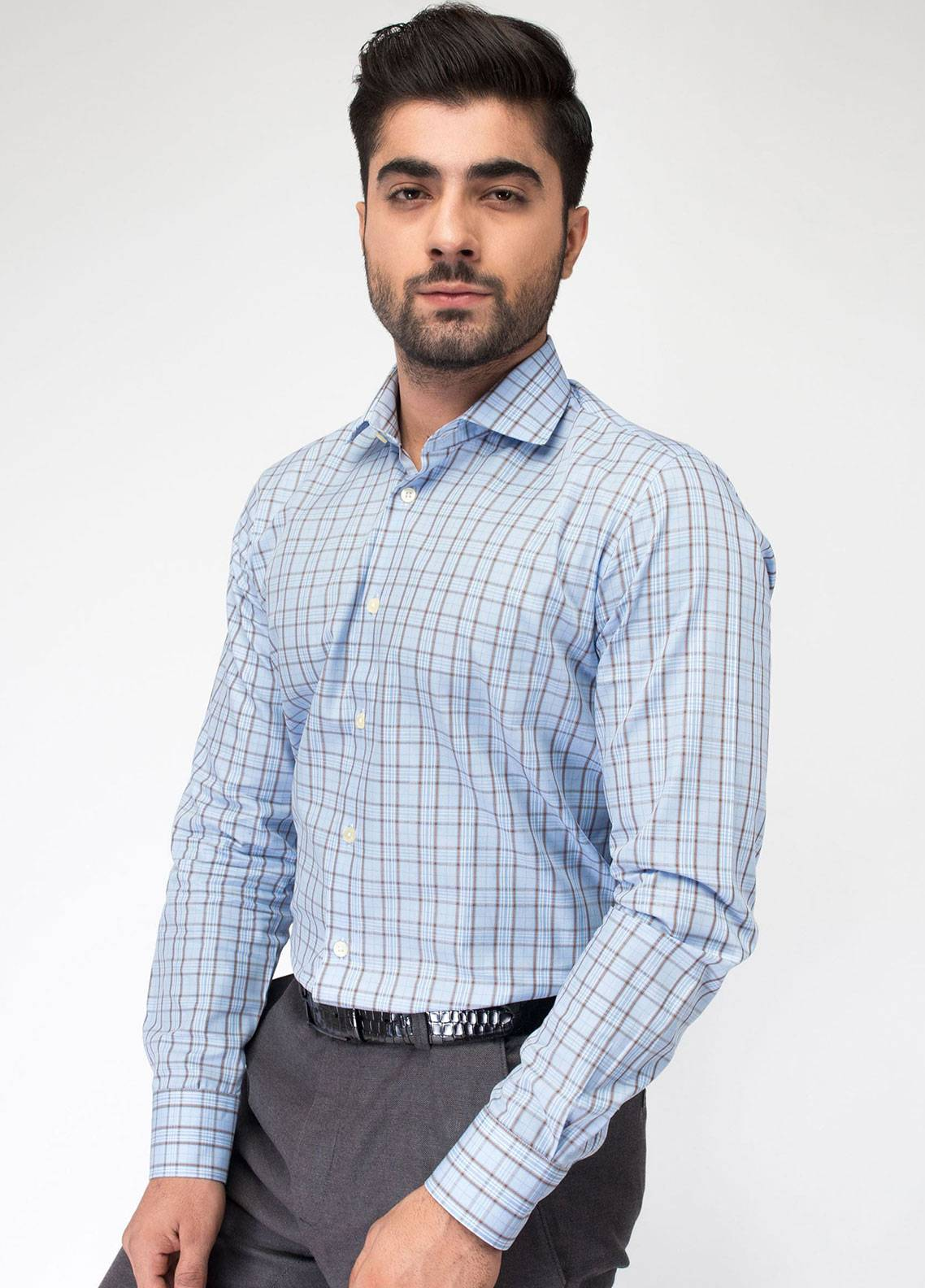 Brumano Cotton Formal Men Shirts - Blue BRM-773