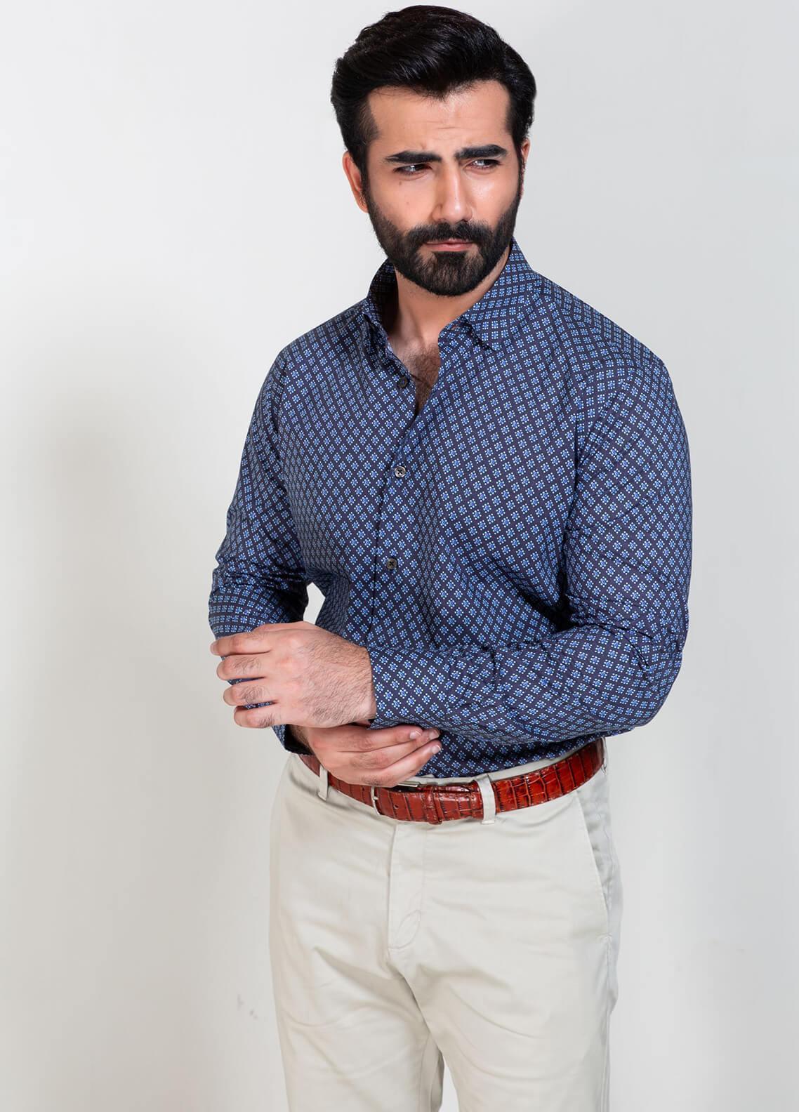 Brumano Cotton Formal Men Shirts - Blue BRM-857
