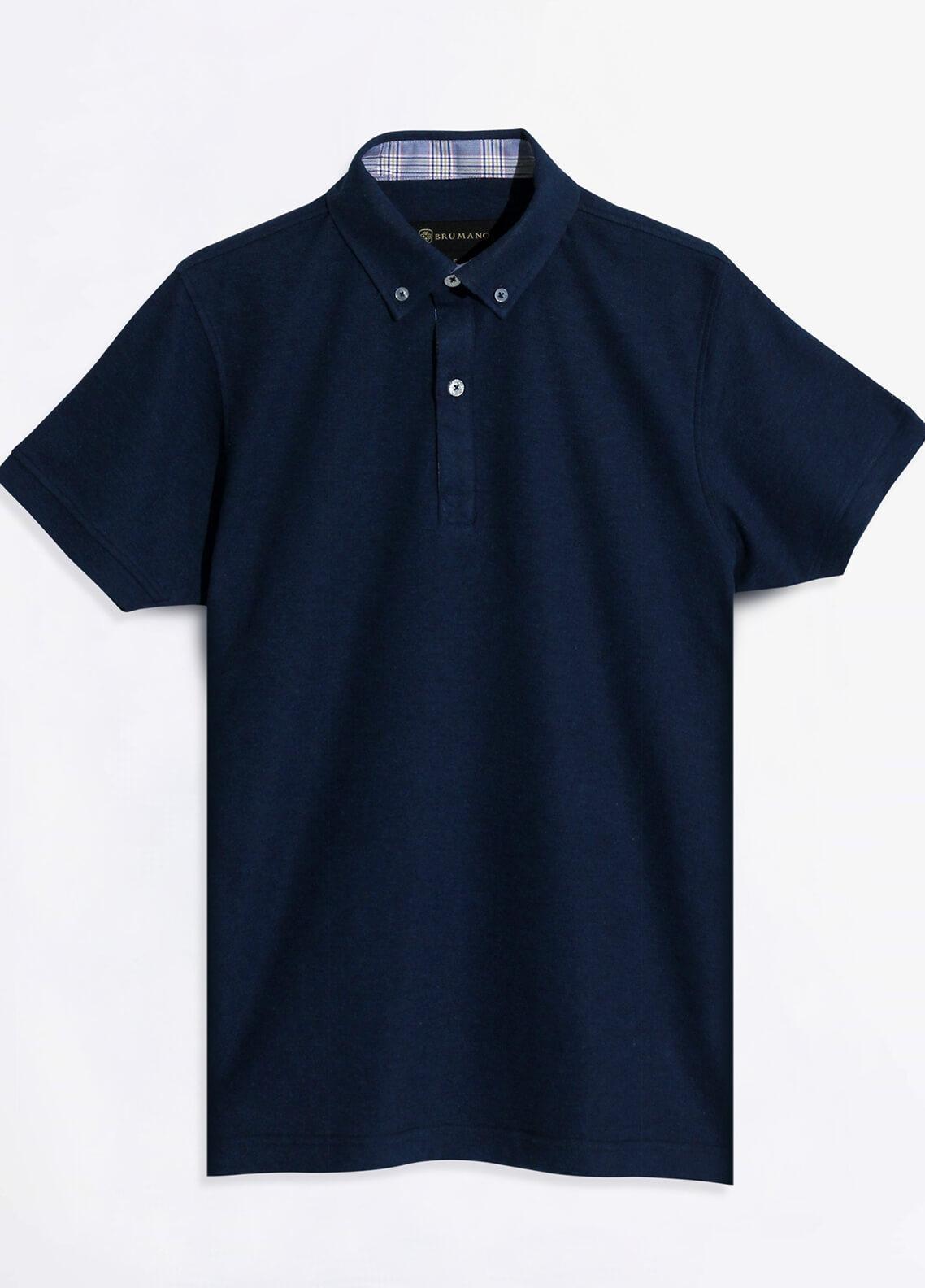 Brumano Cotton Polo Shirts for Men - Navy Blue BRM-41-105