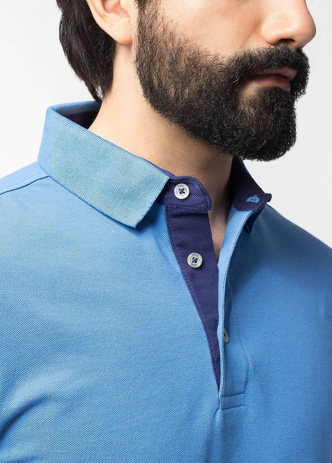 Brumano Cotton Polo Shirts for Men - Blue BRM-44-331