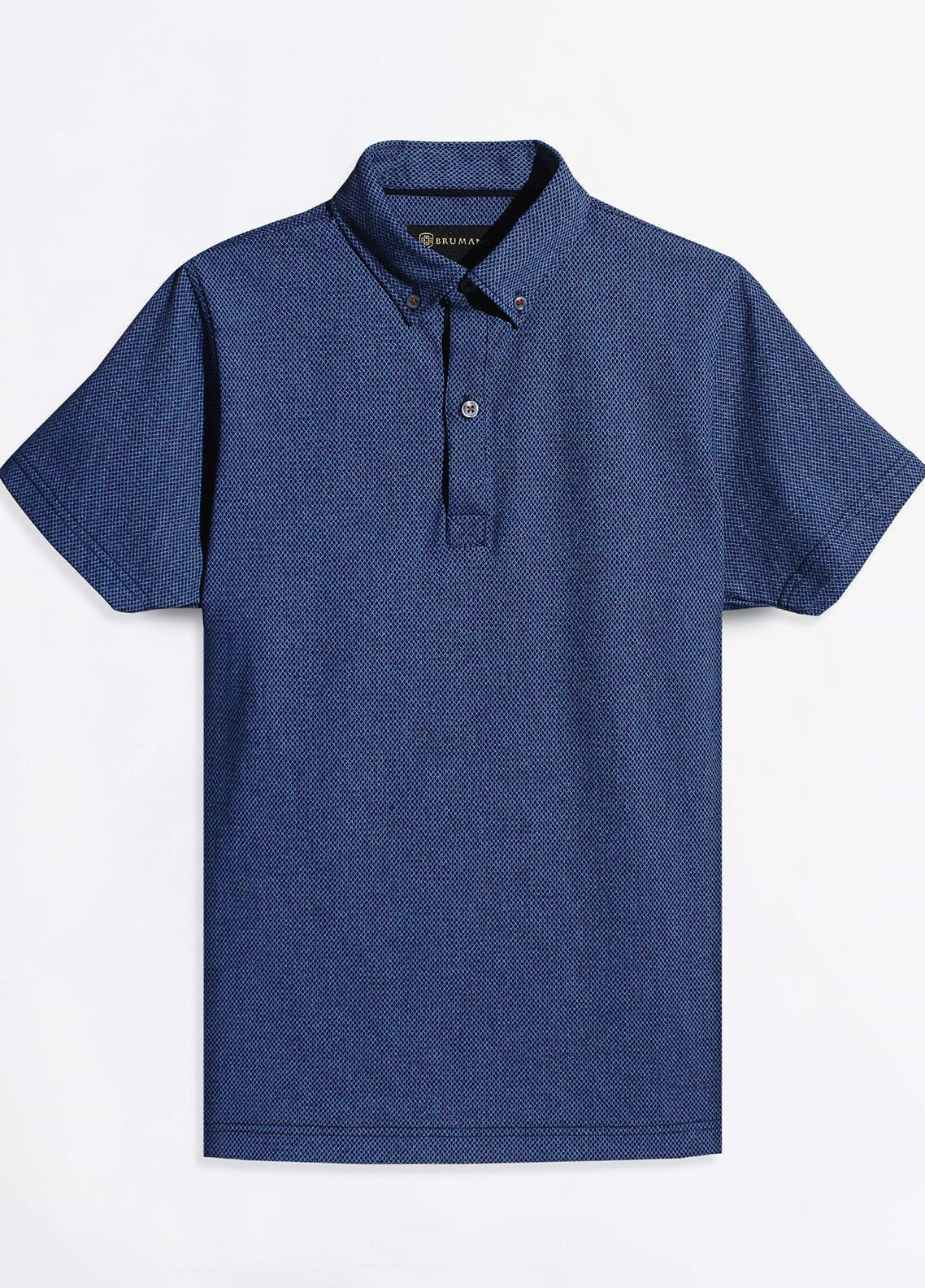 Brumano Cotton Polo Shirts for Men - Navy Blue BRM-981