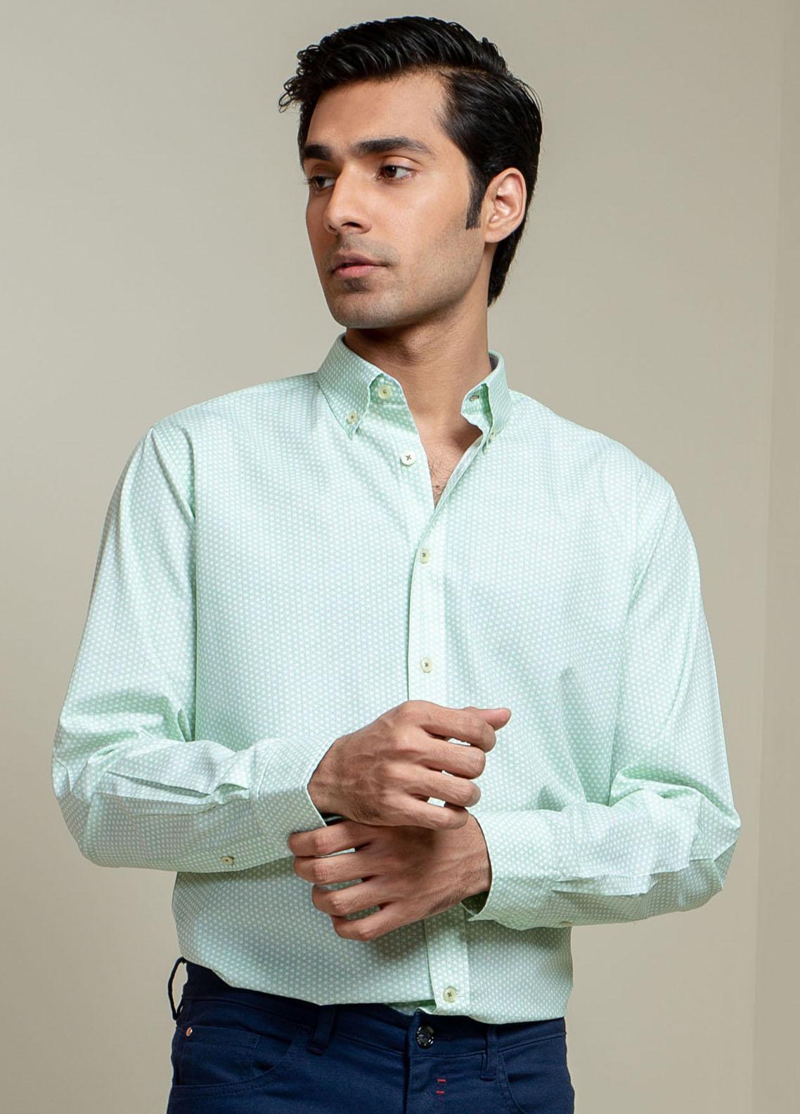 Brumano Cotton Casual Men Shirts -  Green Geo Printed