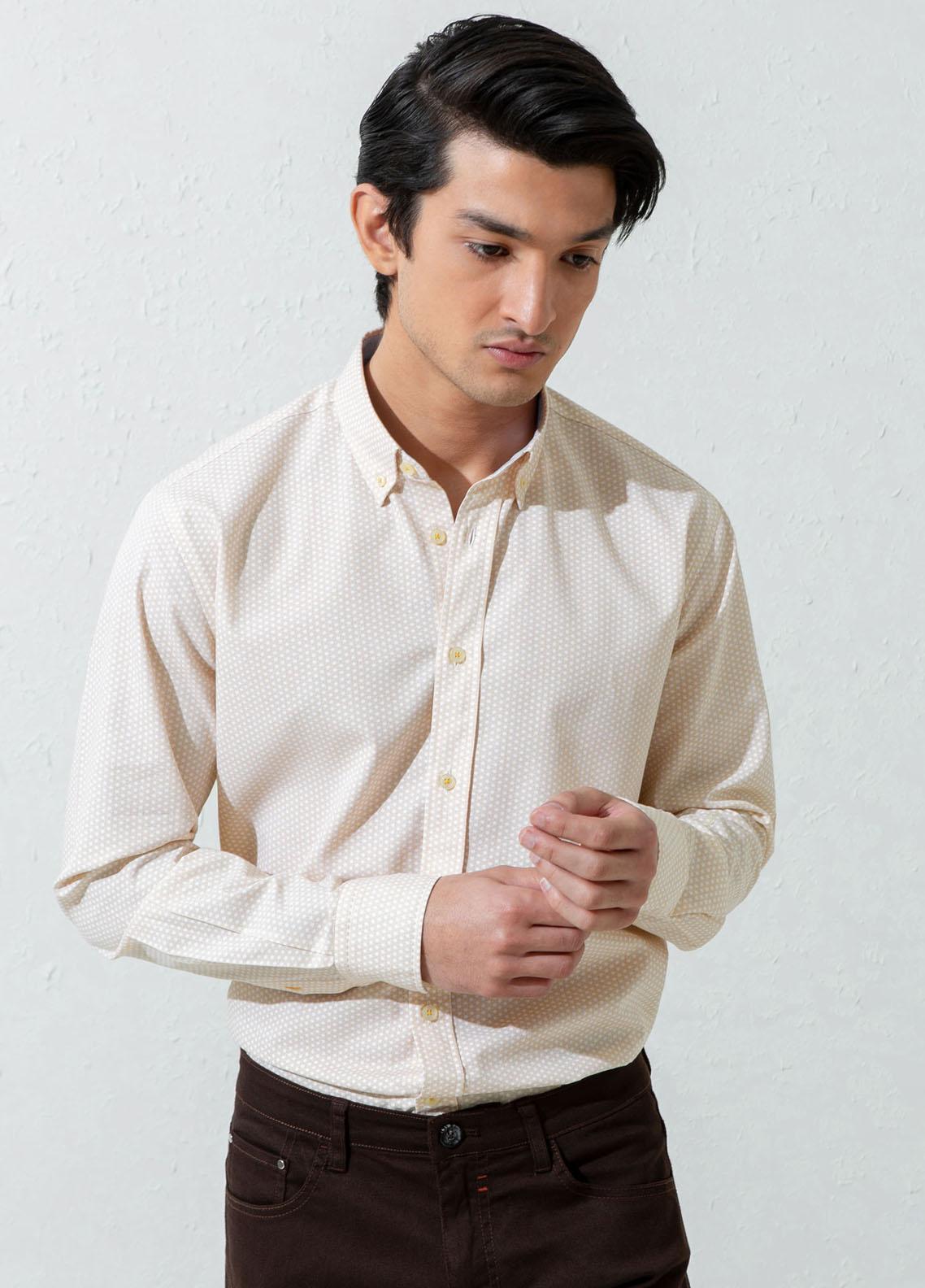 Brumano Cotton Casual Shirts for Men -  Yellow Geo Printed