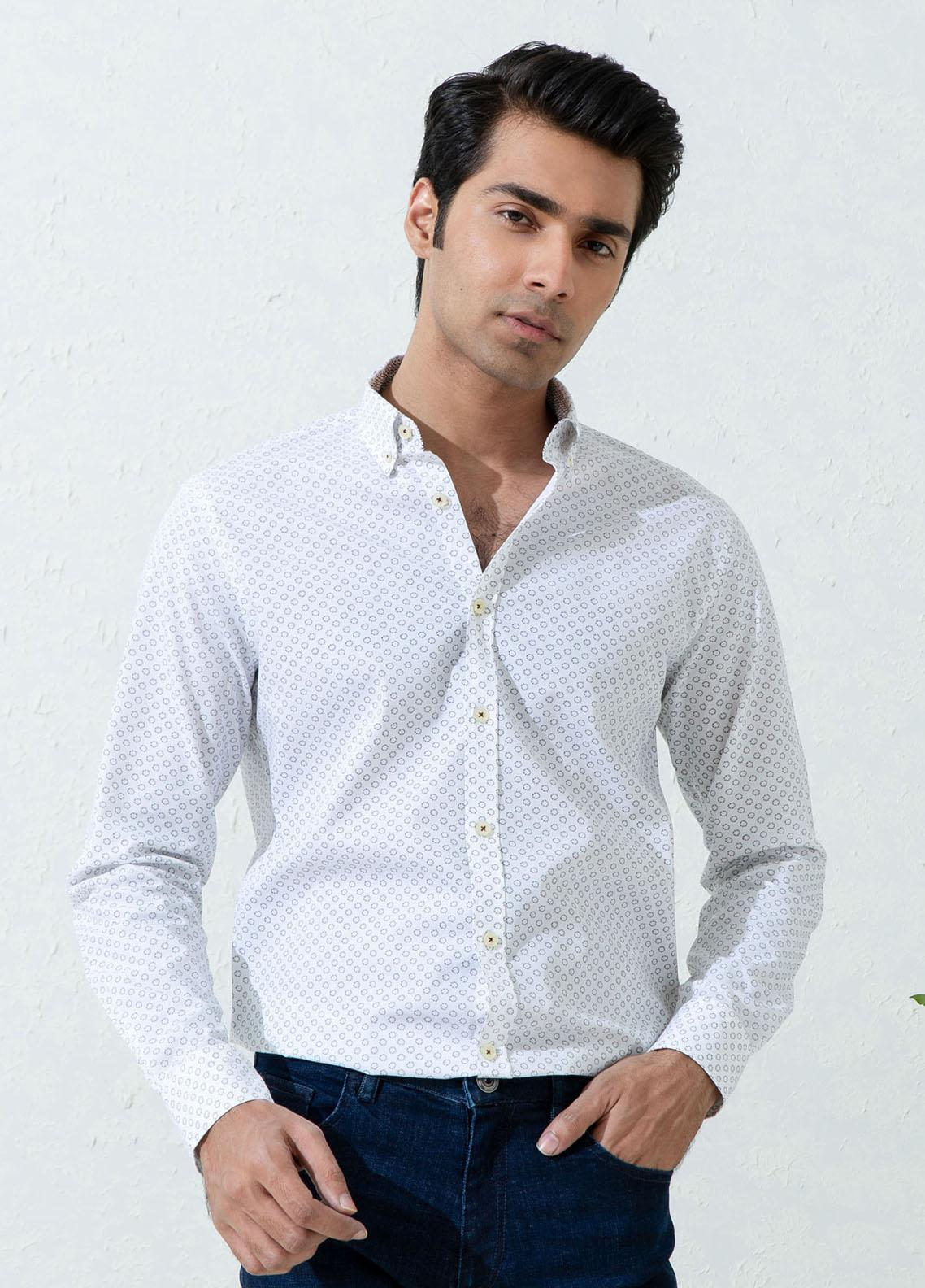 Brumano Cotton Casual Men Shirts -  White Printed Shirt With Inner Collar Detailing