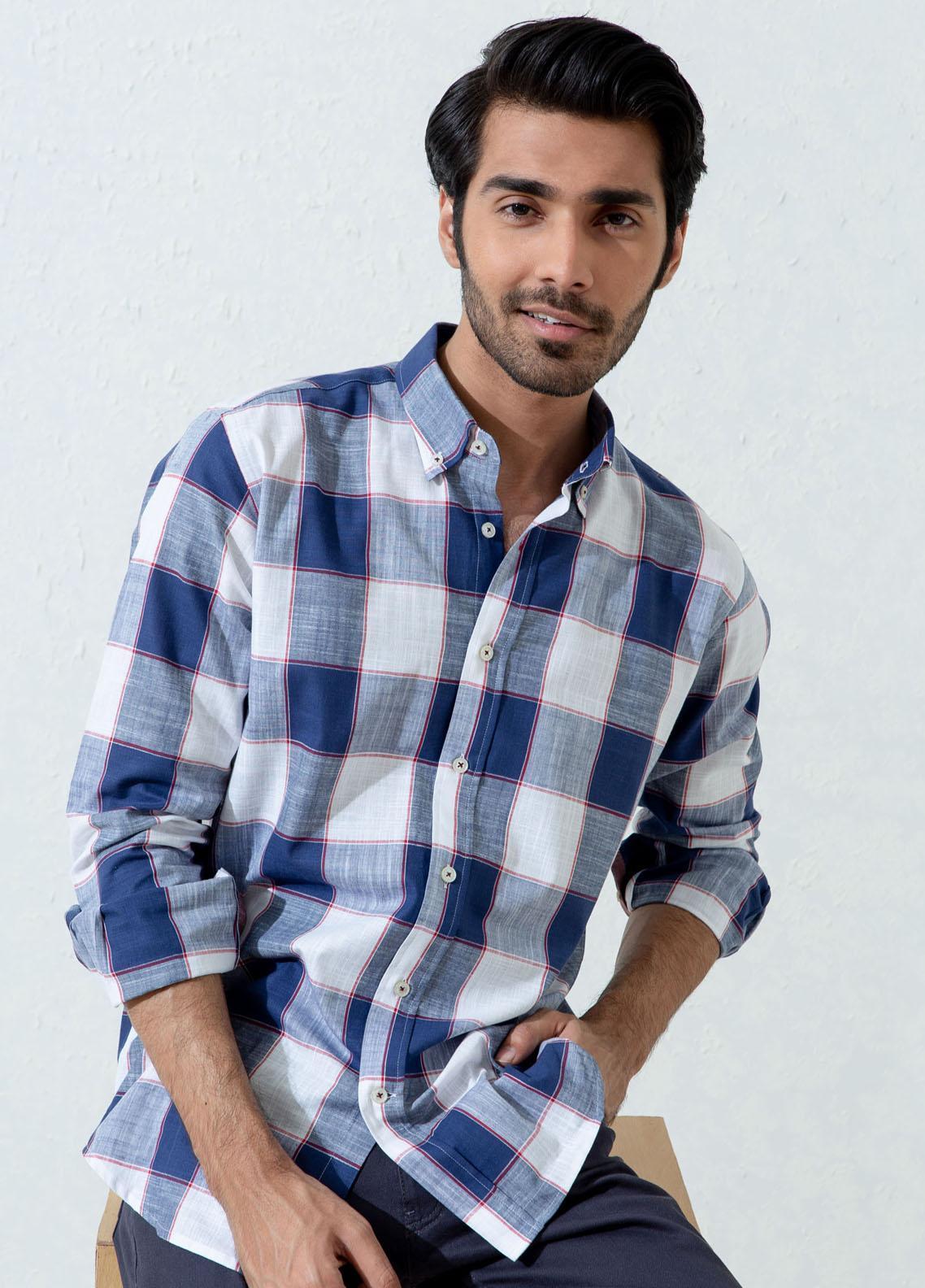 Brumano Cotton Casual Shirts for Men -  Blue & White Slub Textured Checkered