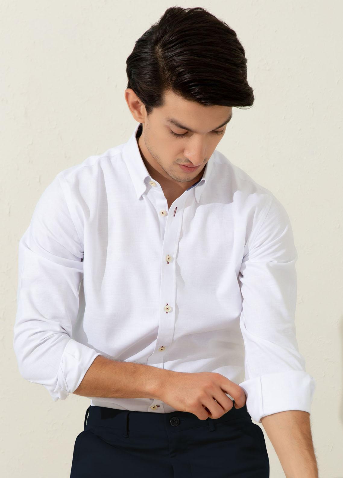Brumano Cotton Casual Men Shirts -  White Herringbone Shirt With Inside Collar Detailing