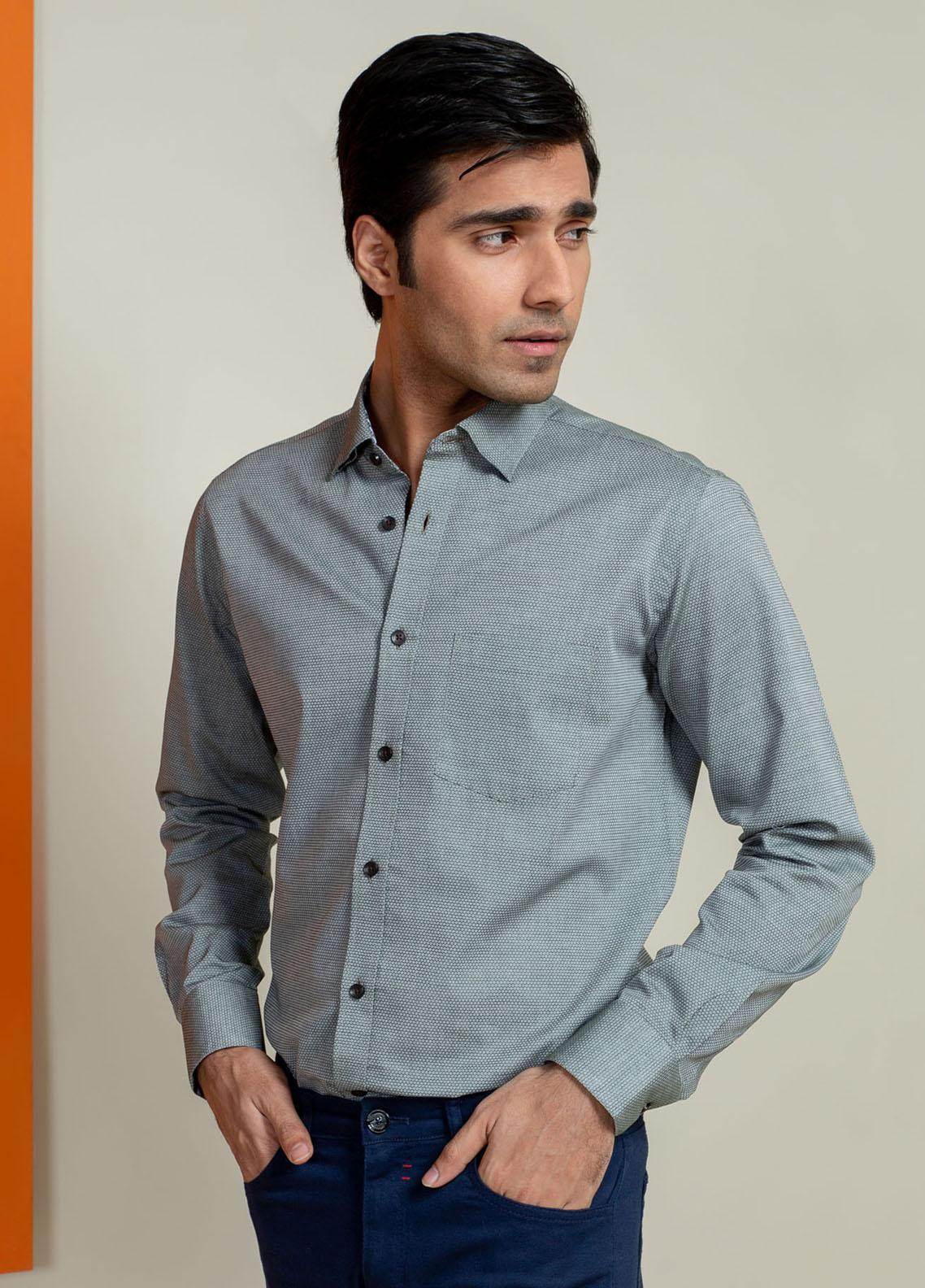 Brumano Cotton Casual Men Shirts -  Olive Honeycomb Patterned Shirt With Detailing