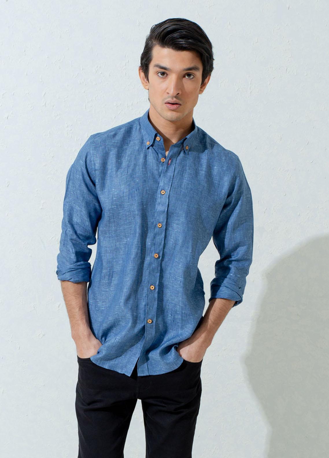 Brumano Linen Casual Shirts for Men -  Blue Linen Structured Button Down