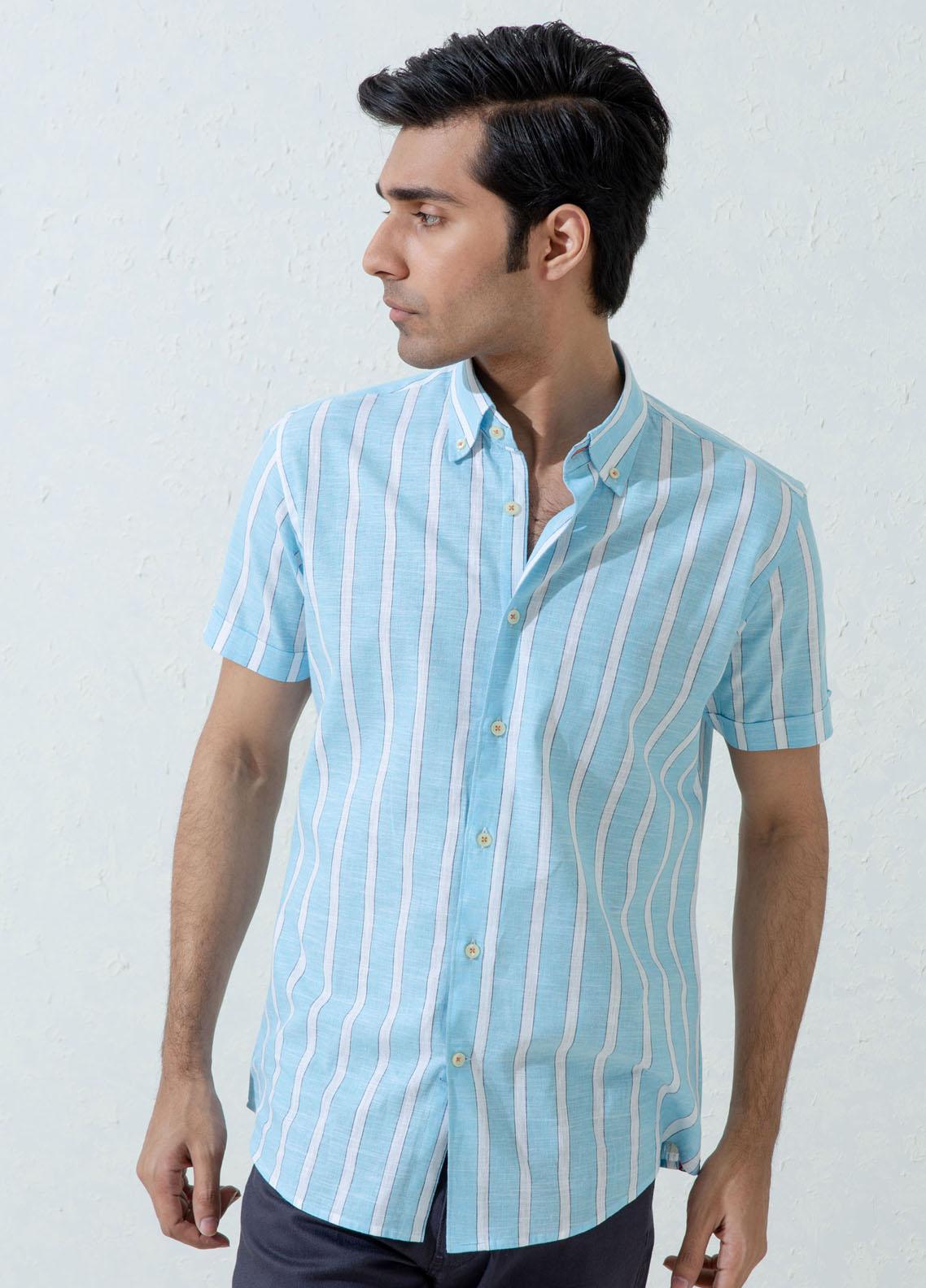 Brumano Cotton Casual Men Shirts -  Blue Linen Striped Half Sleeve