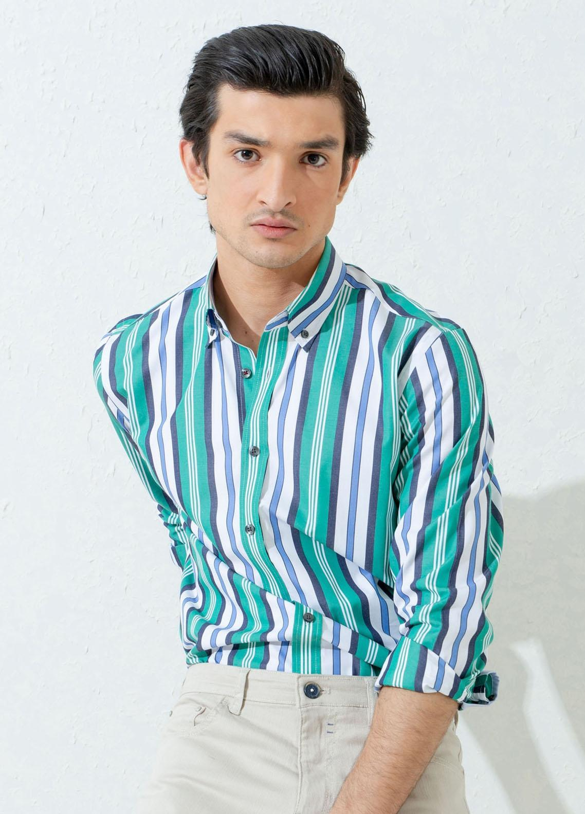 Brumano Cotton Casual Shirts for Men -  Green Bold Striped