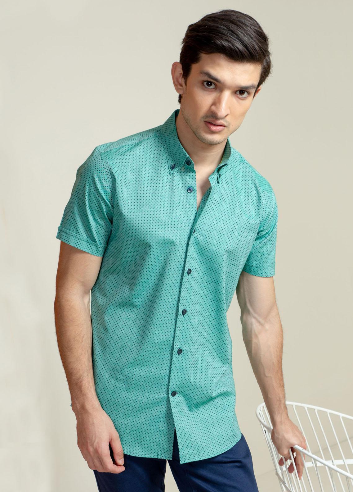Brumano Cotton Casual Men Shirts -  Green Polka Dot Half Sleeve