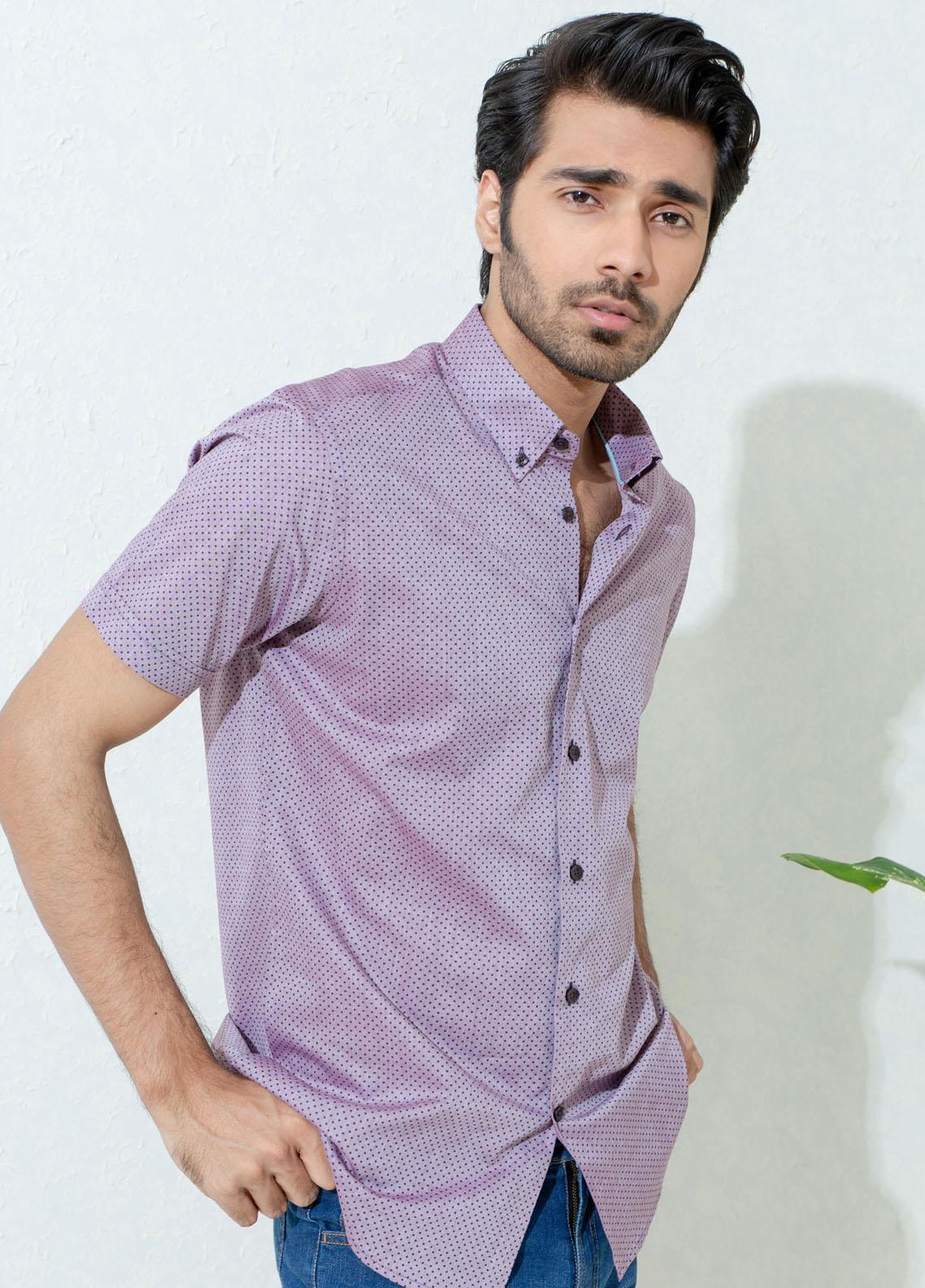 Brumano Cotton Casual Shirts for Men -  Purple Polka Dot Half Sleeve